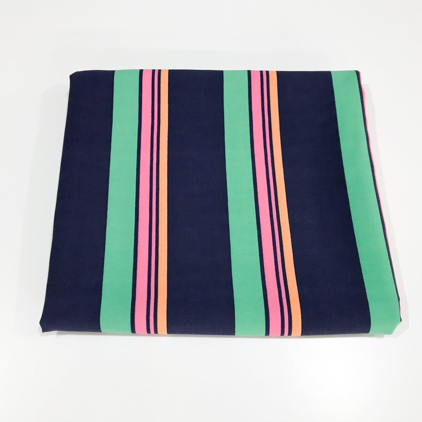 2 yards + 5 inches - Rayon Challis - Navy, Kelly Green, Pink and Orange Stripe