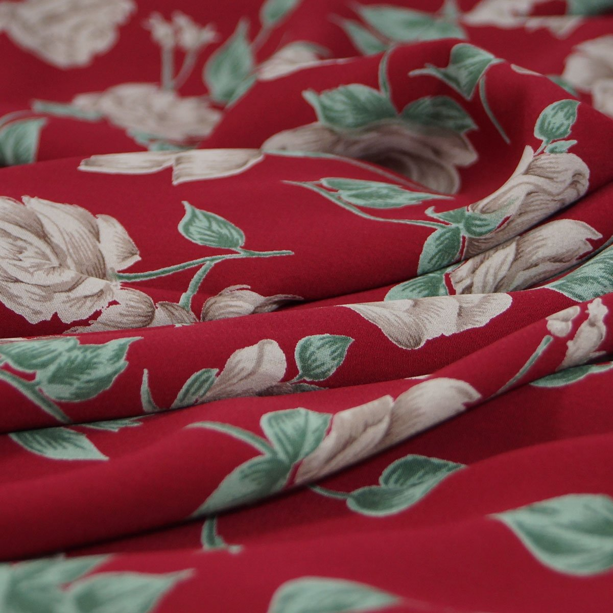 Rayon - Crimson with Taupe Flowers