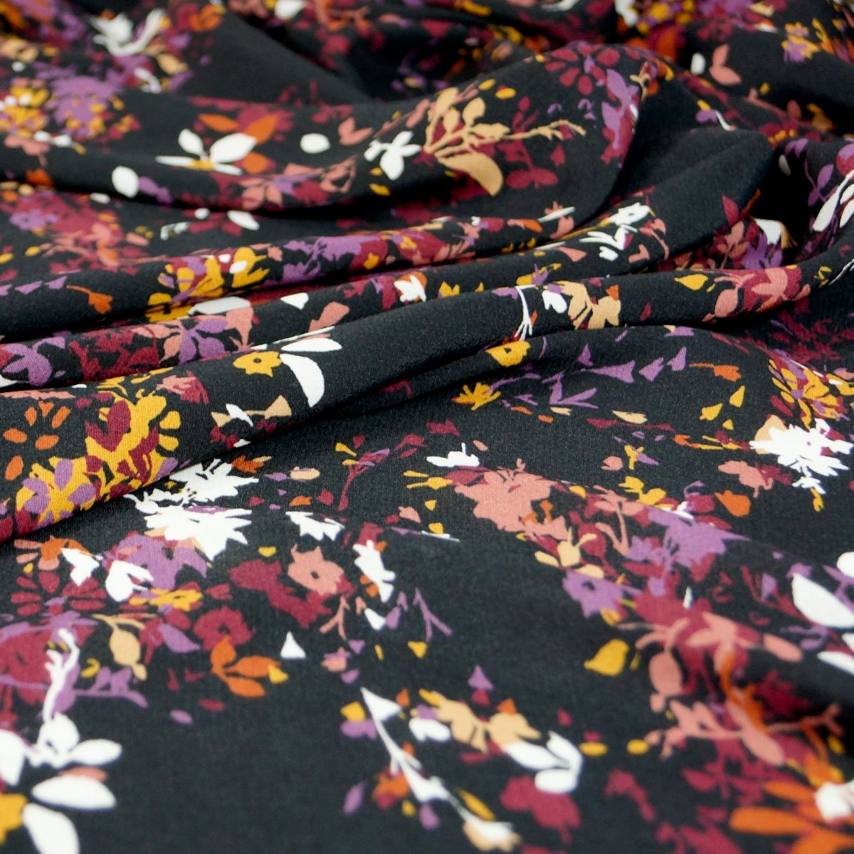 Rayon - Black with Fall Colors