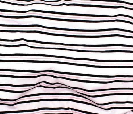 Bamboo Stripe - Blush and Black on White