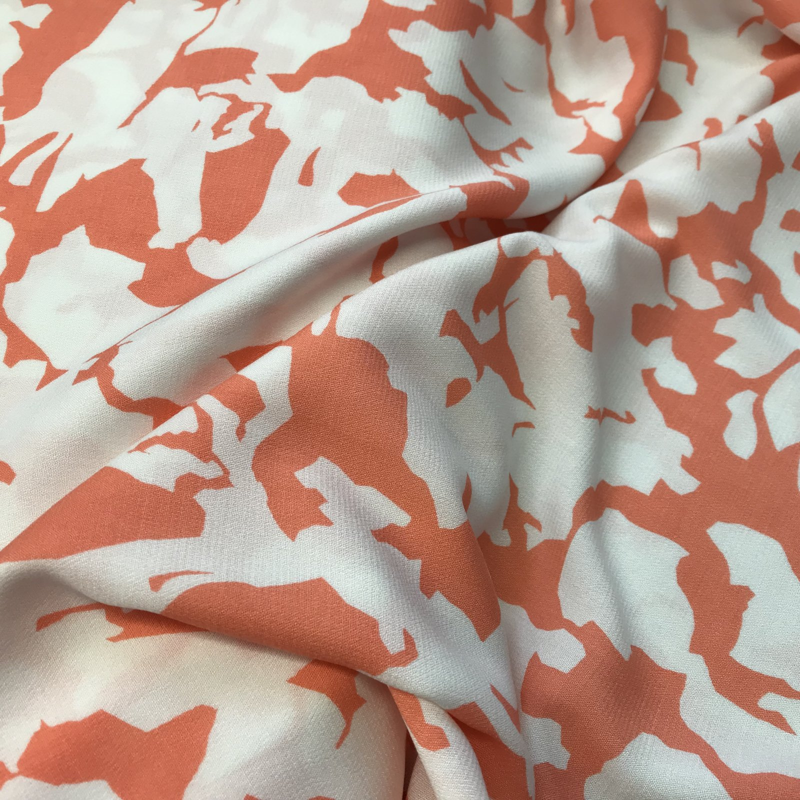 Rayon Crepe - Coral and Ivory