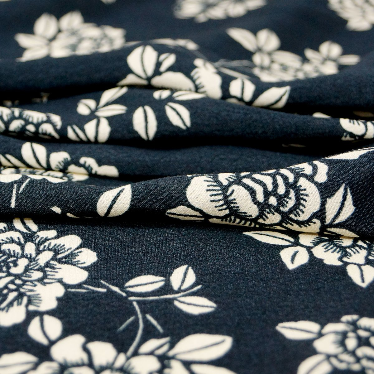 Rayon - Black with Ivory Floral