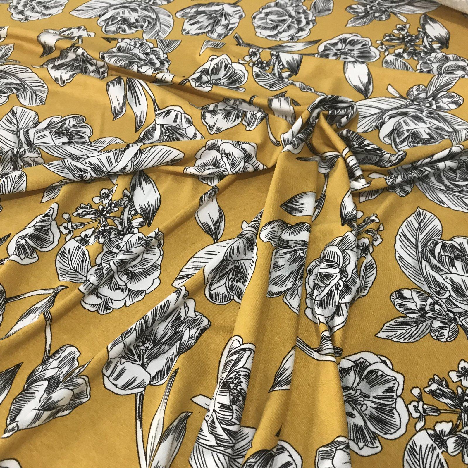 Rayon Knit - Mustard  Floral Print