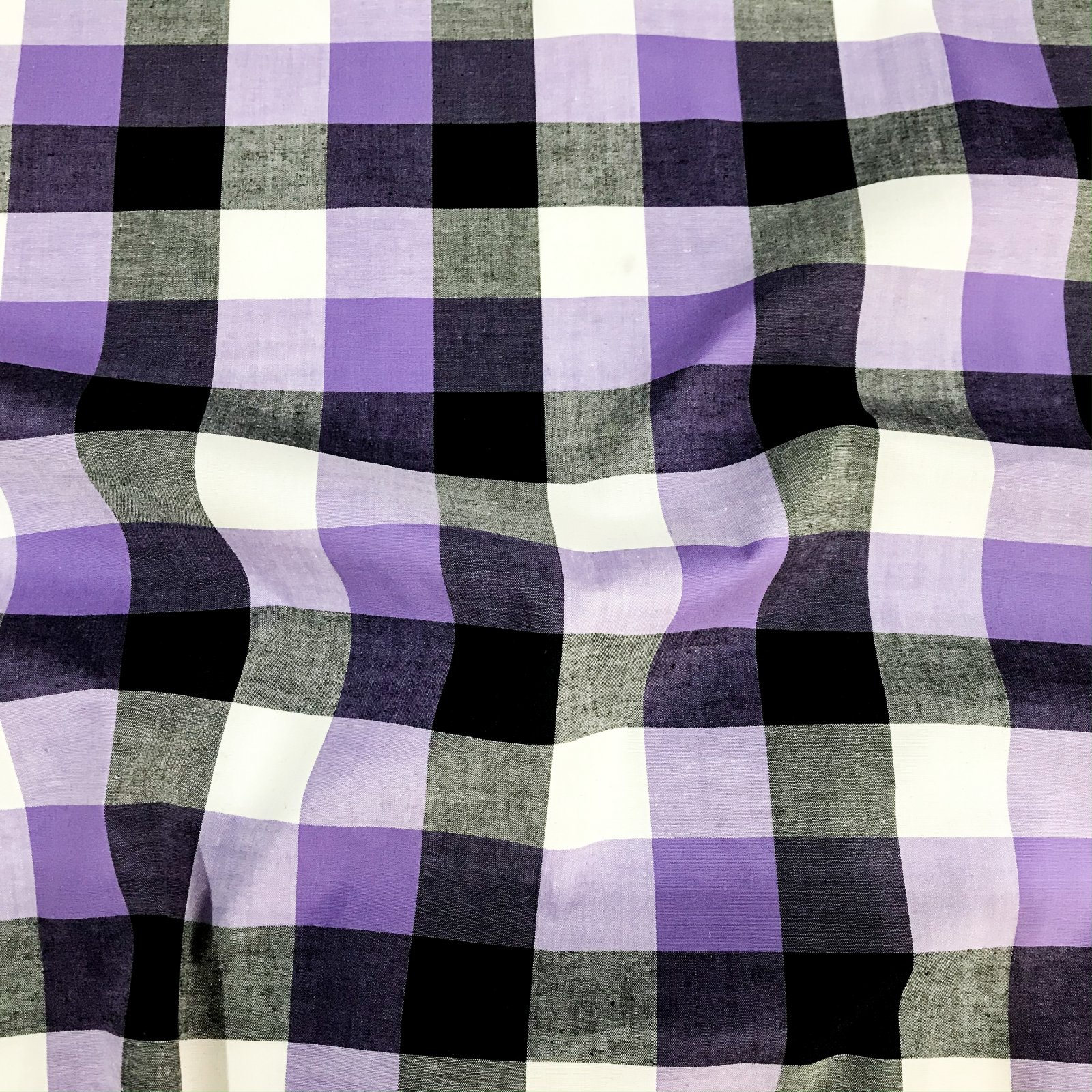 Stretch Cotton Shirting - Purple & Black