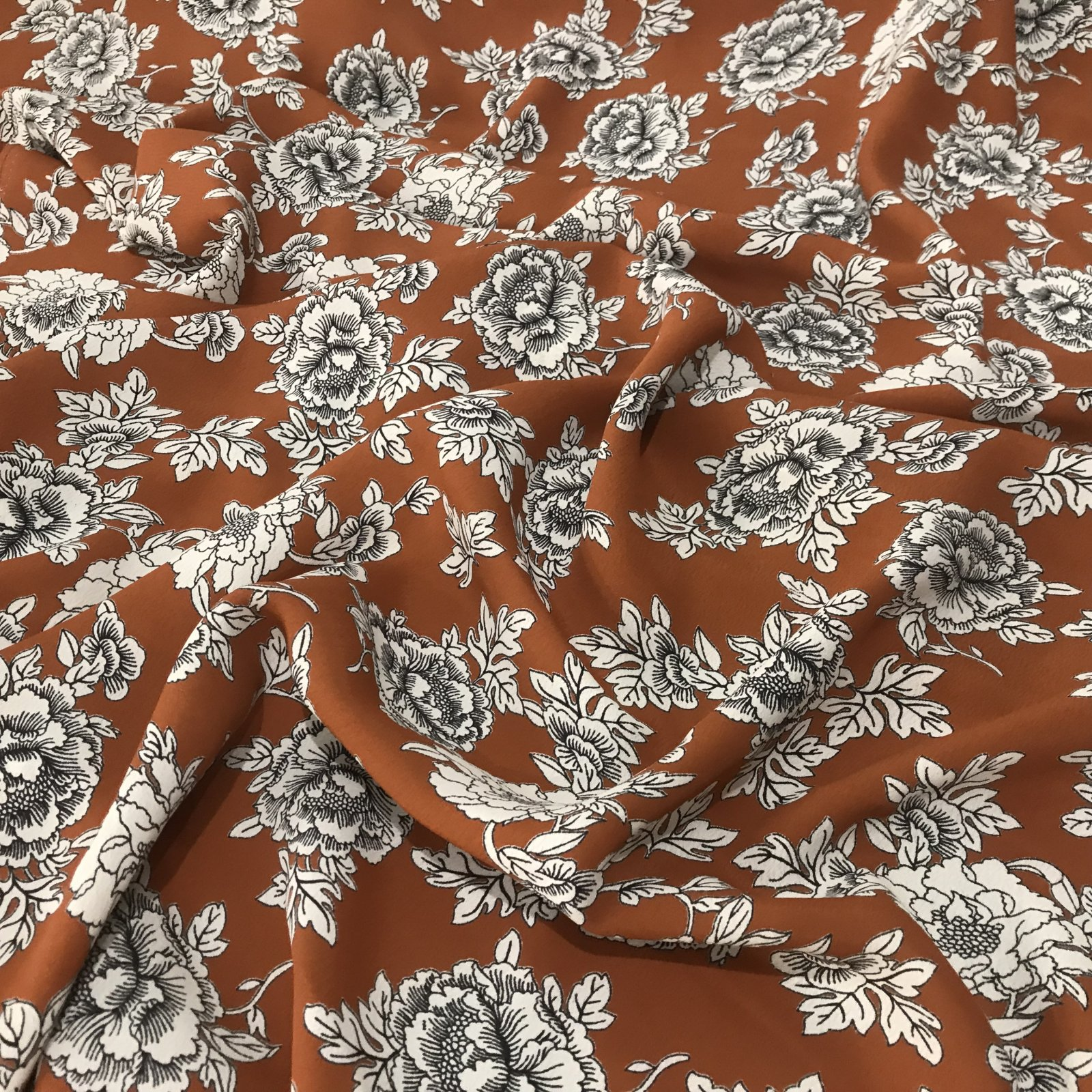 Copper Floral - Rayon Crepe