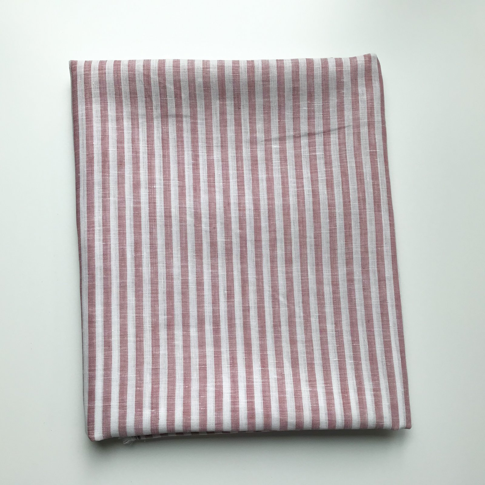 1 yard + 6 inches - Linen - Cranberry and White Stripes