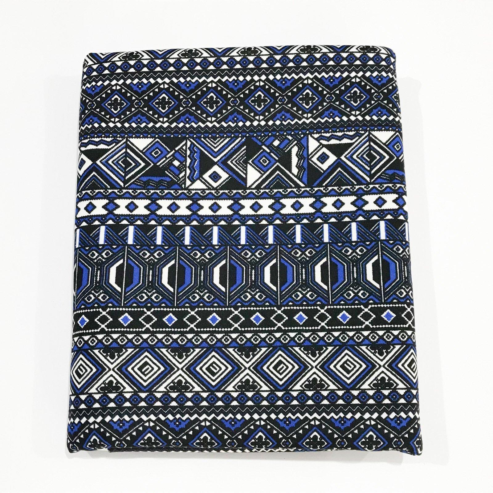 2 yard -  Ponte Knit - Mosaic Black and Blue