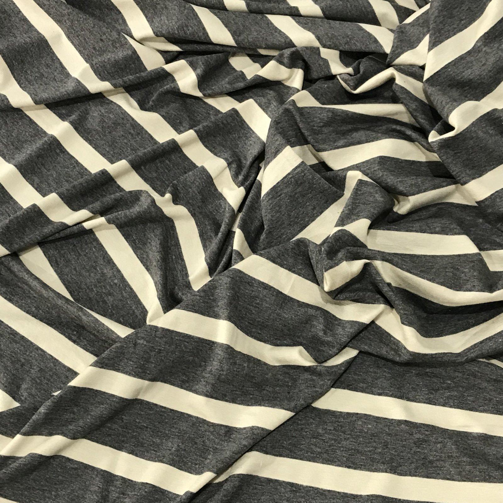 Rayon Jersey Knit - Charcoal & Cream