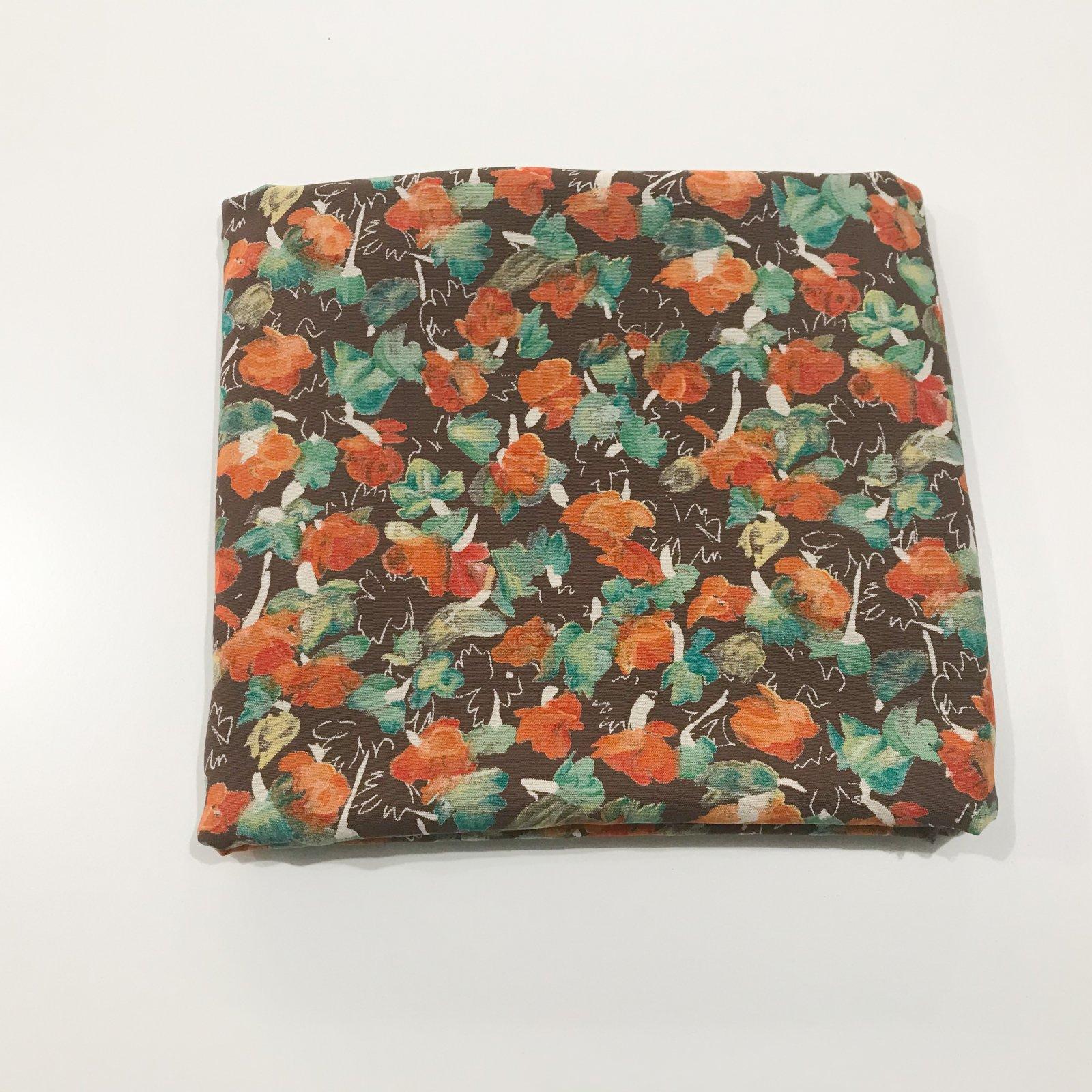 2 yards - Rayon Crepe - Mocha & Burnt Orange