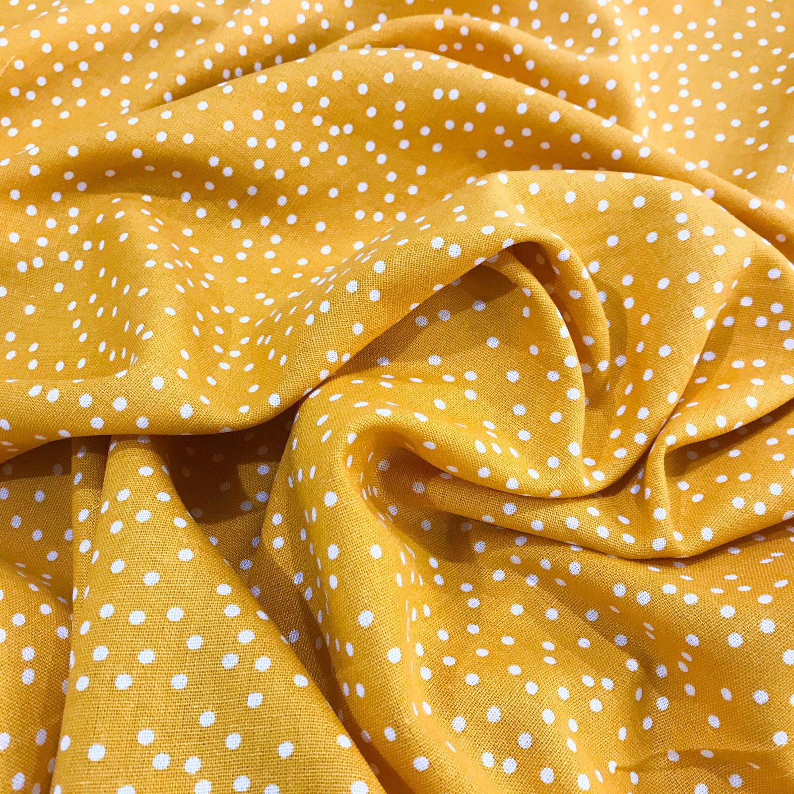 Linen - Rayon Blend Sunflower Polka Dots
