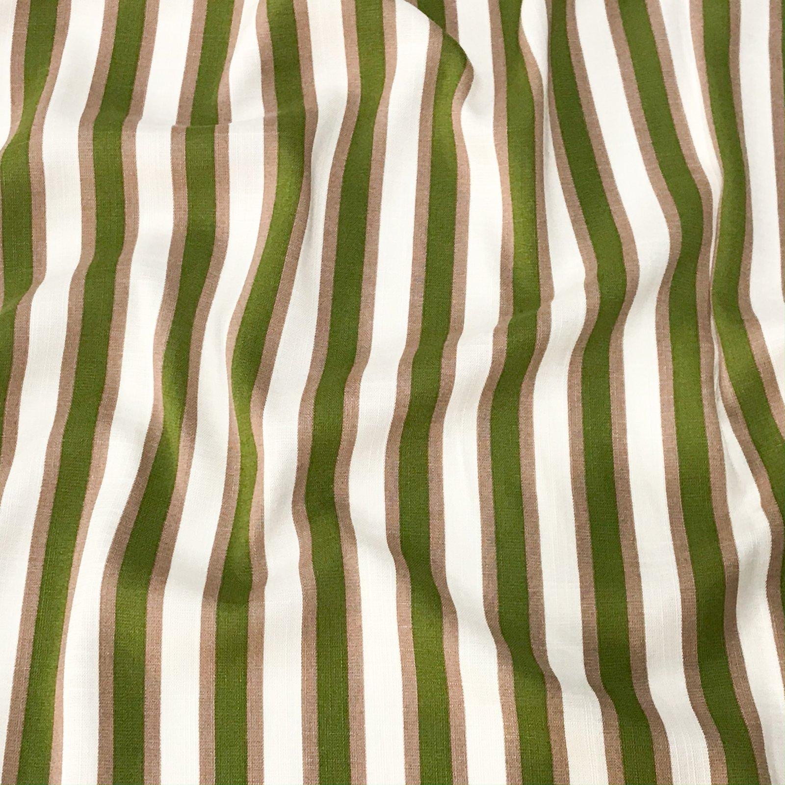 Rayon Stripes - Taupe & Lime