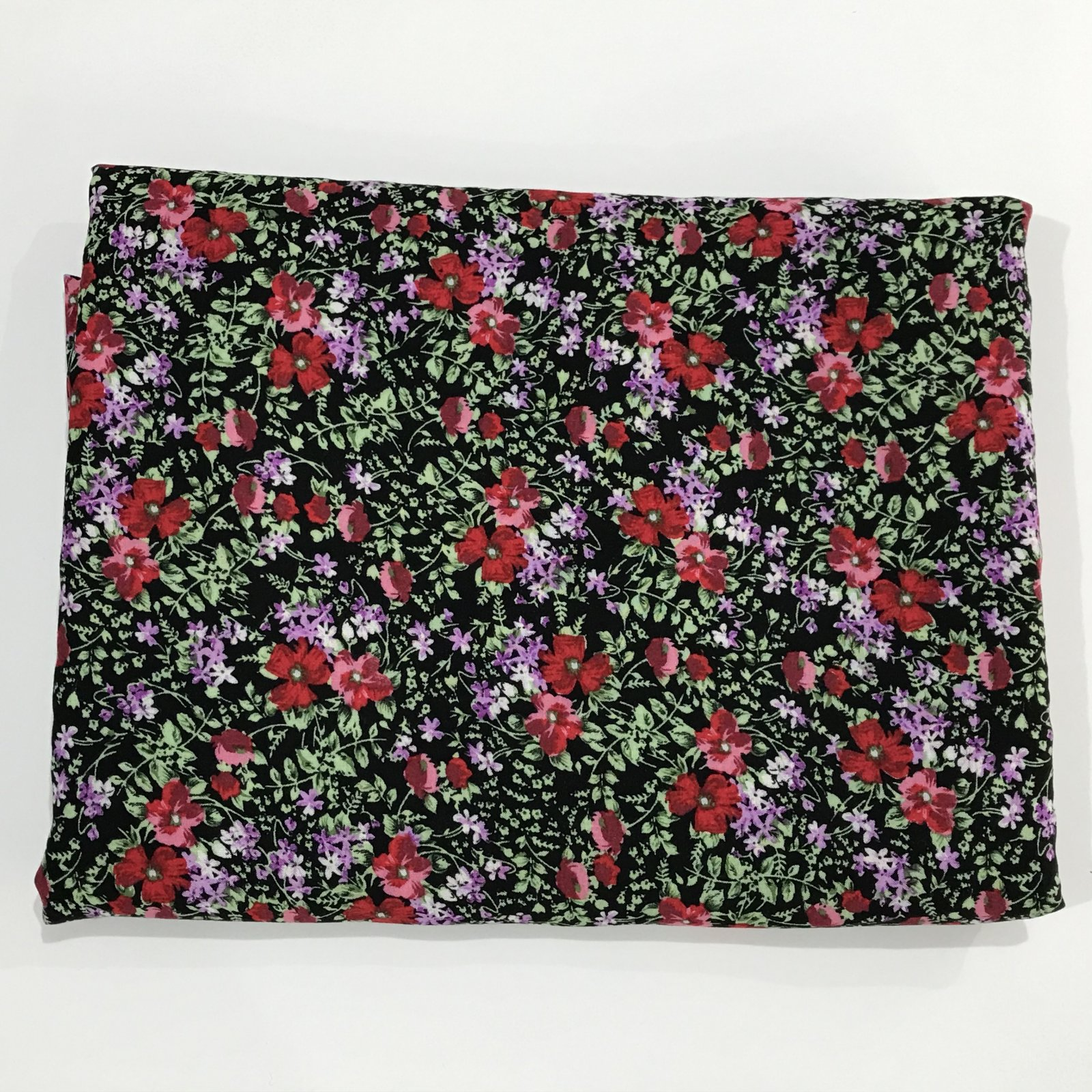 Rayon -  Small Black and Red Floral - 4 1/8 yards