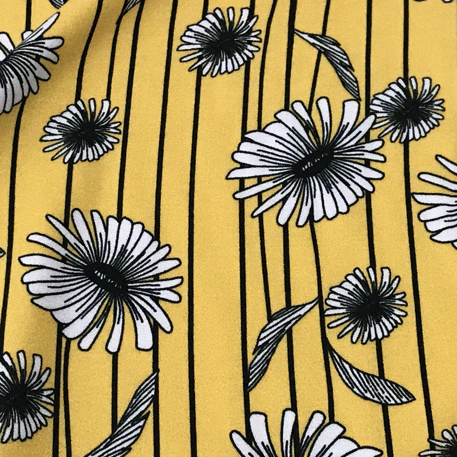 Viscose Crepe - Mustard Print