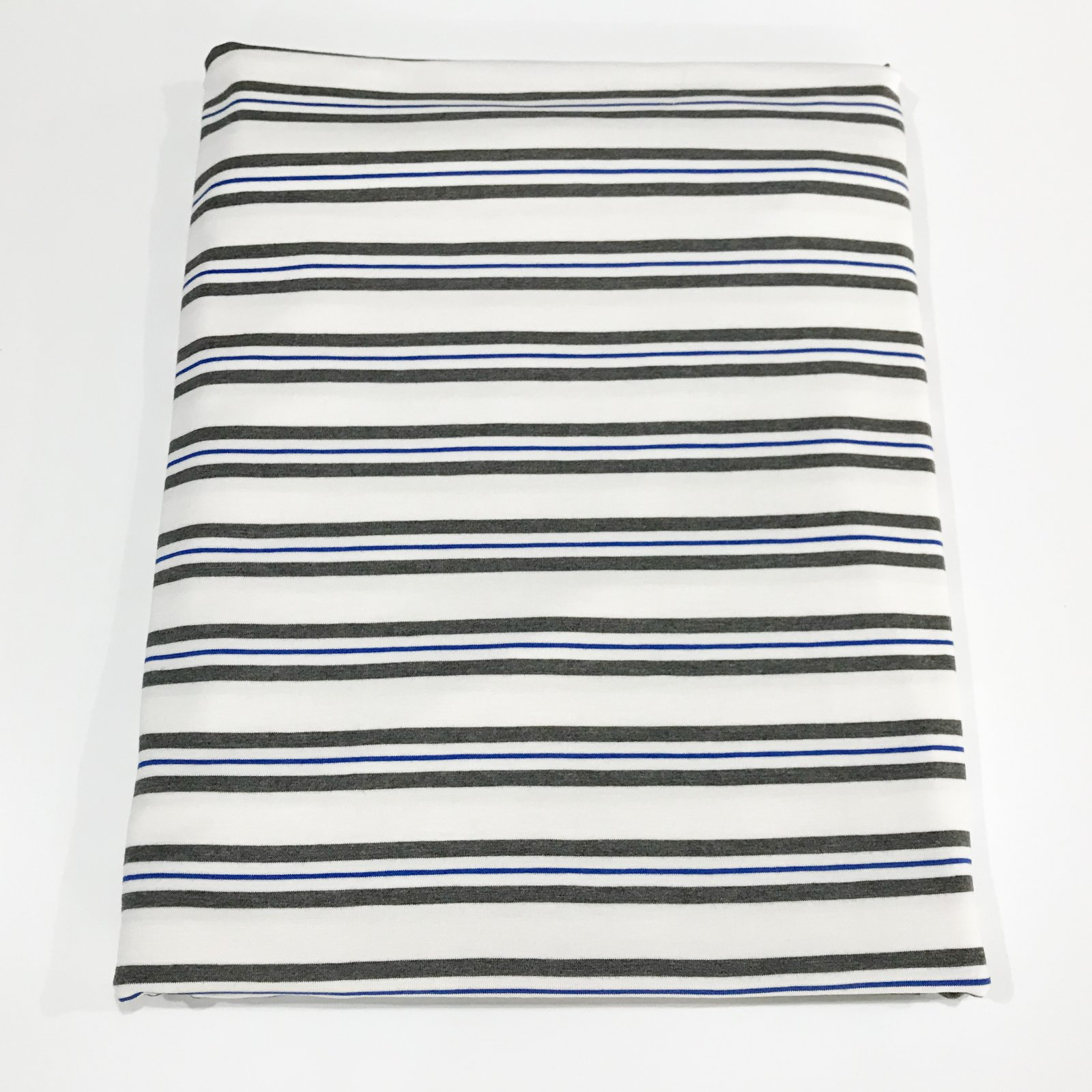 1 1/2 yards - Bamboo Stripe - Grey & Royal on White