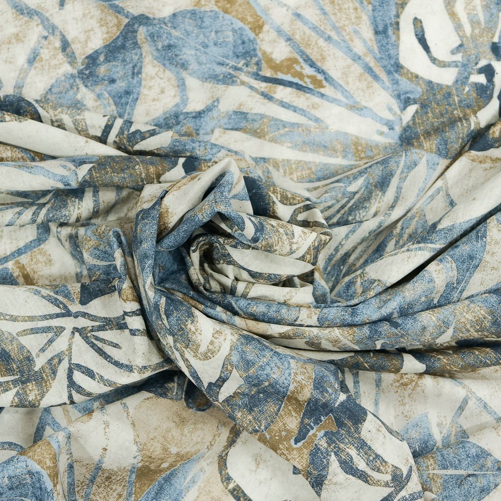 Cotton Lawn - Italian Muted Hawaiian Blue and Taupe