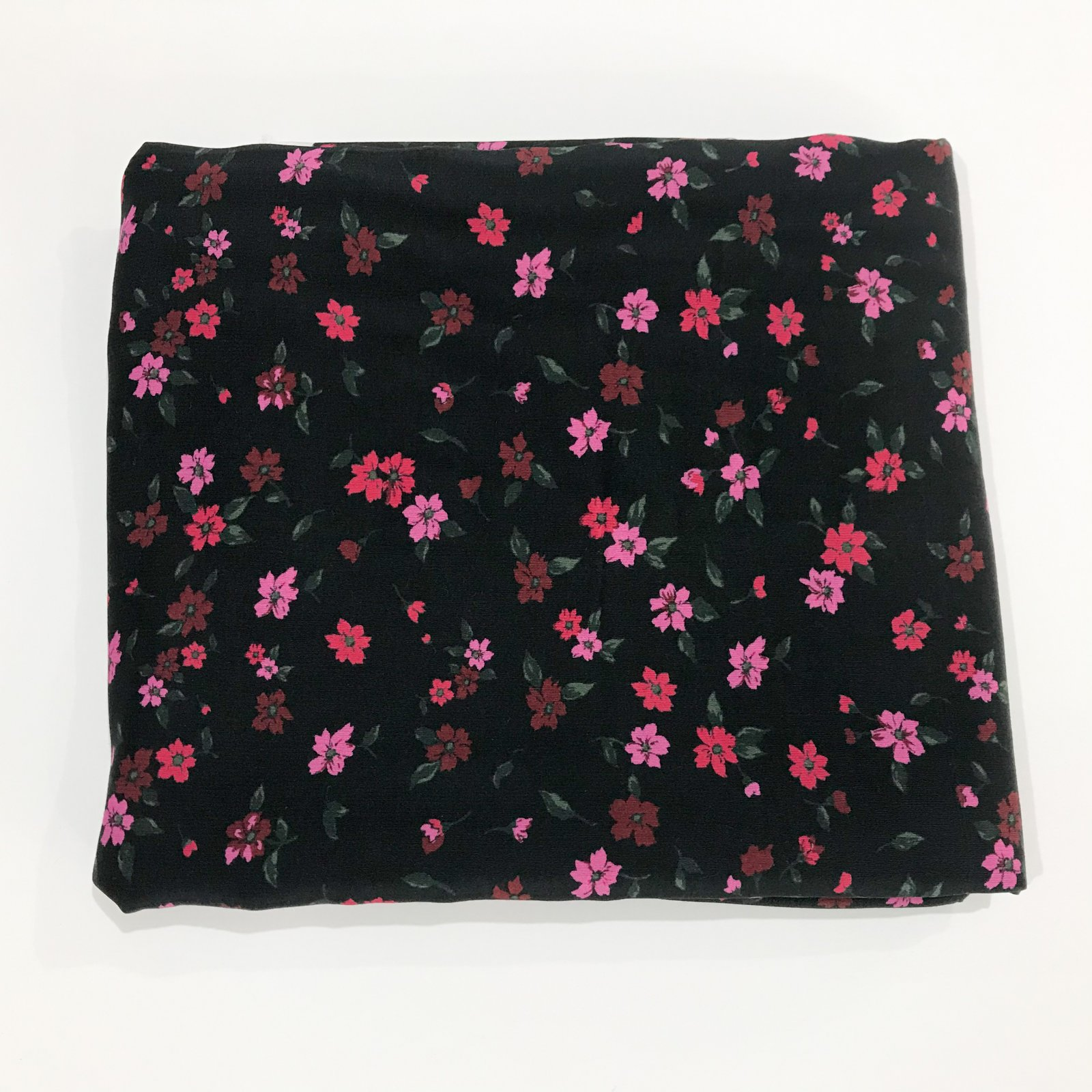 1 3/4 yards - Rayon - Black with small Red and Pink Flowers
