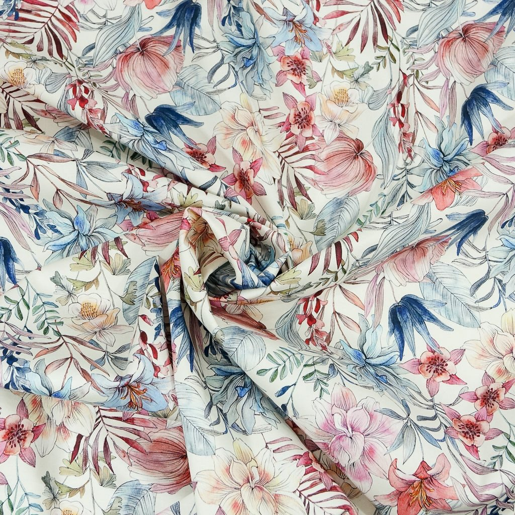 Cotton Stretch Sateen - Floral in Berries & Blues - Italian