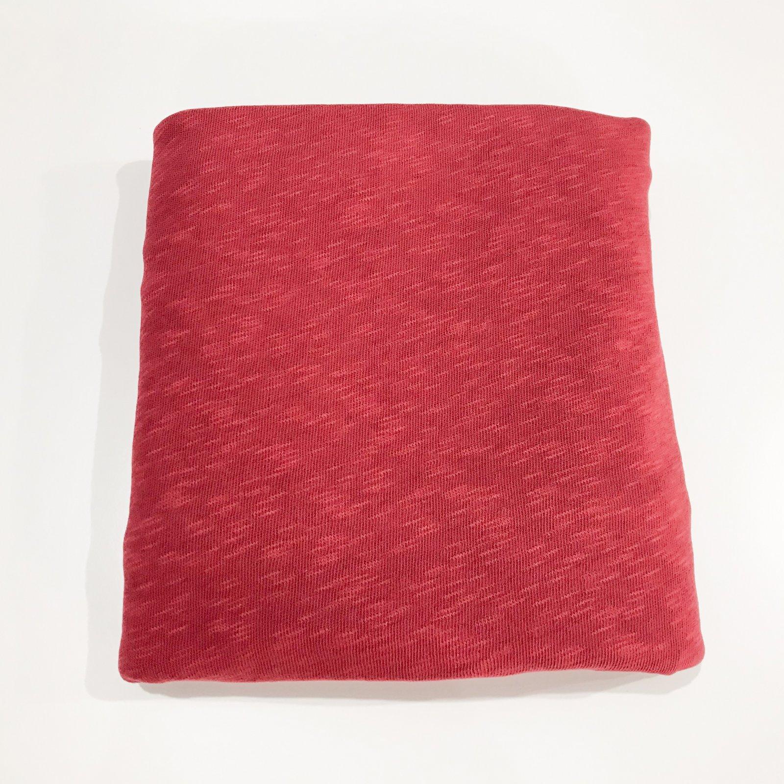 1 3/4 yard - Cotton Sweater Slub Knit - Crimson