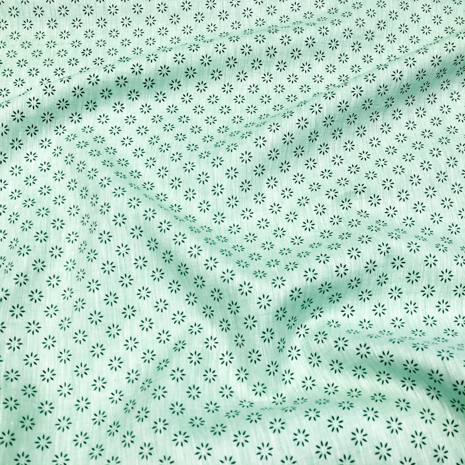 Linen - European Linen in Mint Daisy Print