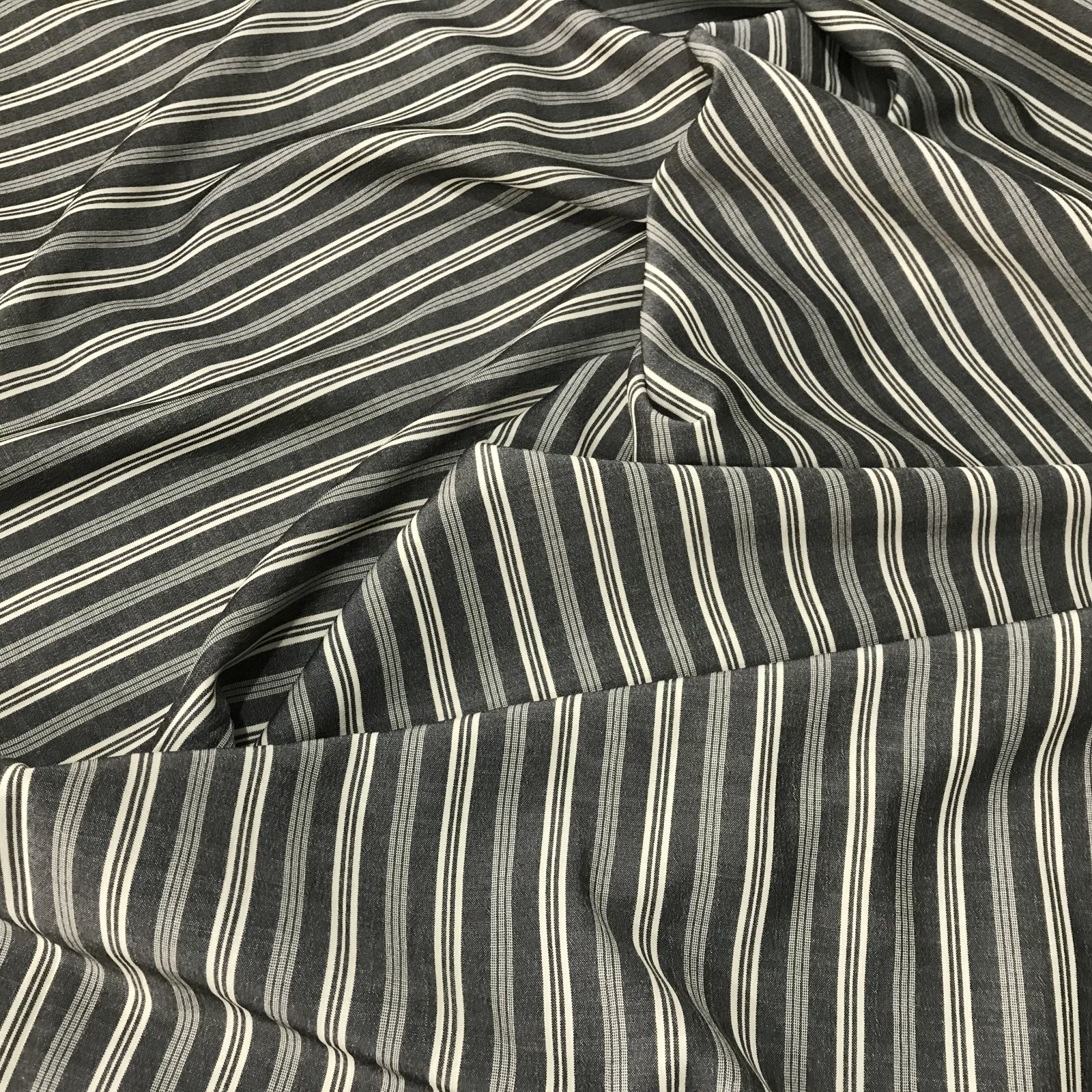 Rayon - Woven Stripes in Charcoal and Cream