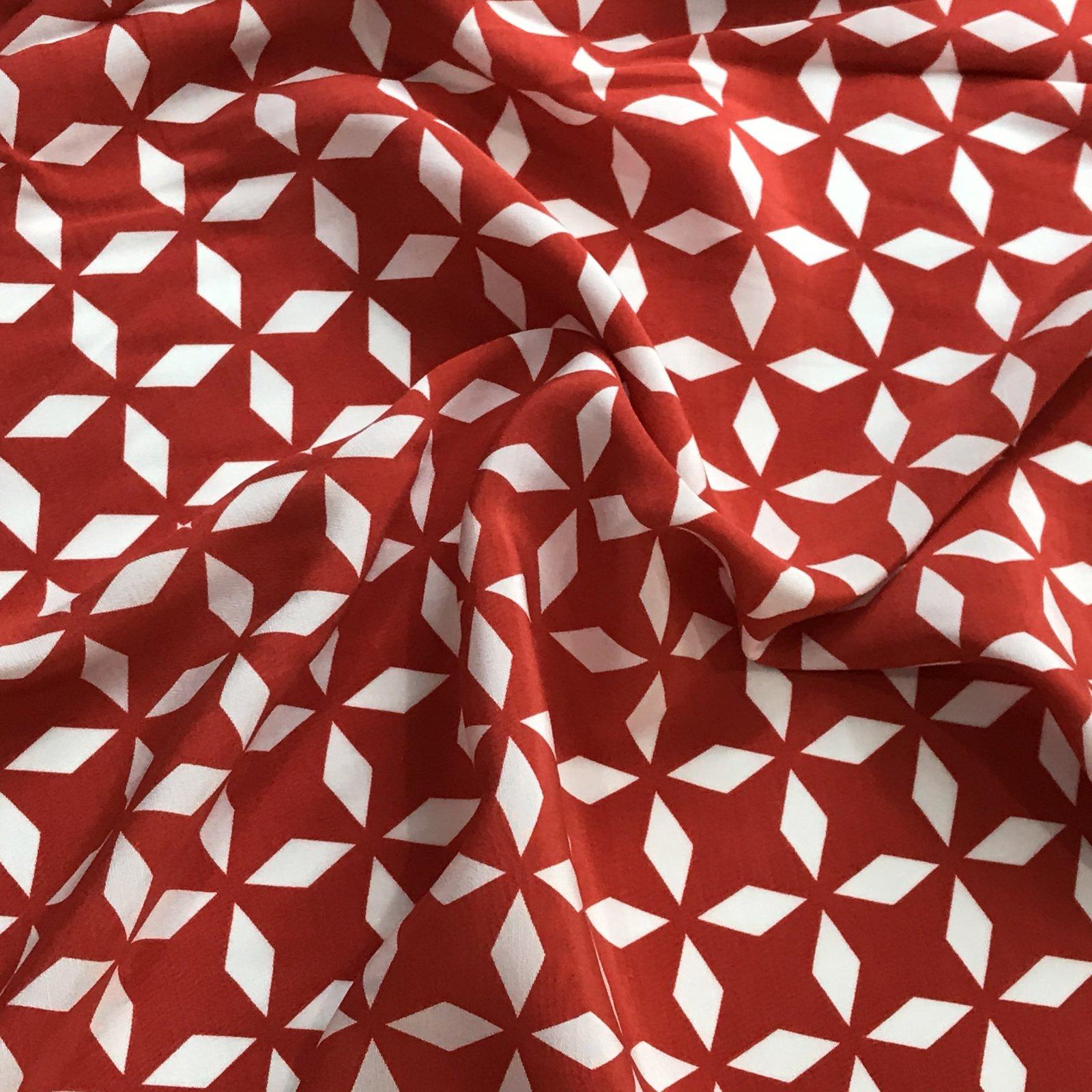 Rayon - Red & White Geometric