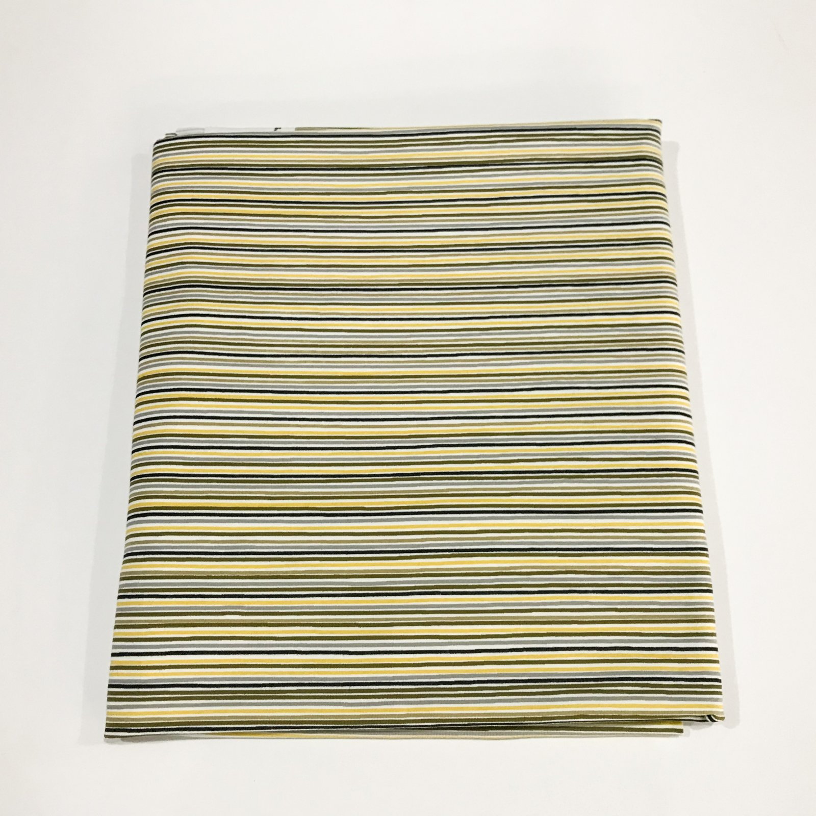 1 1/4 yard - Cotton Knit - Stripe in Gold, Olive, Black, Gray and White