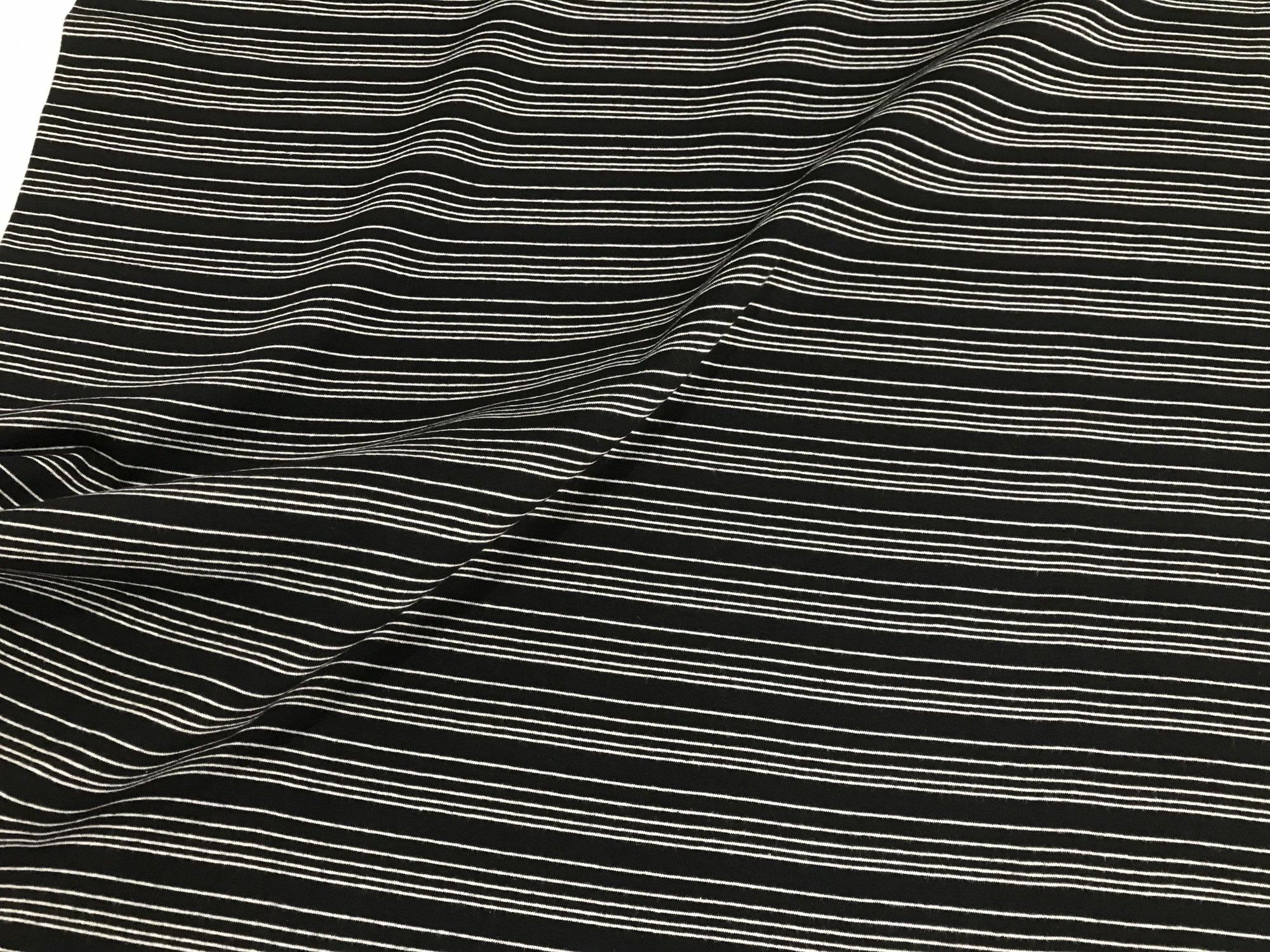 Pencil Stripe - Black/White - Organic Cotton