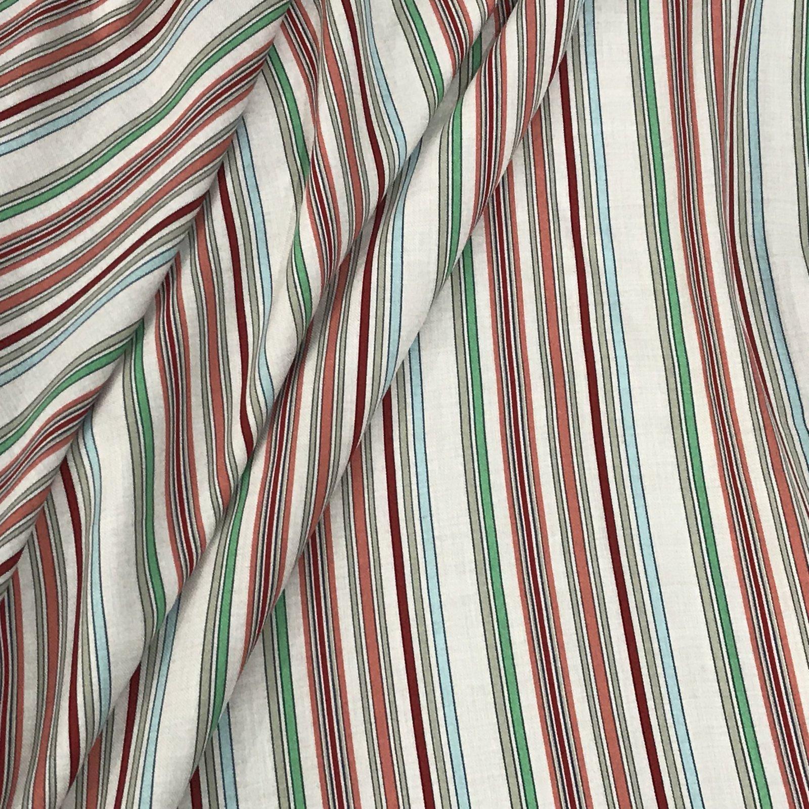 Viscose Stripes -  Jade & Coral