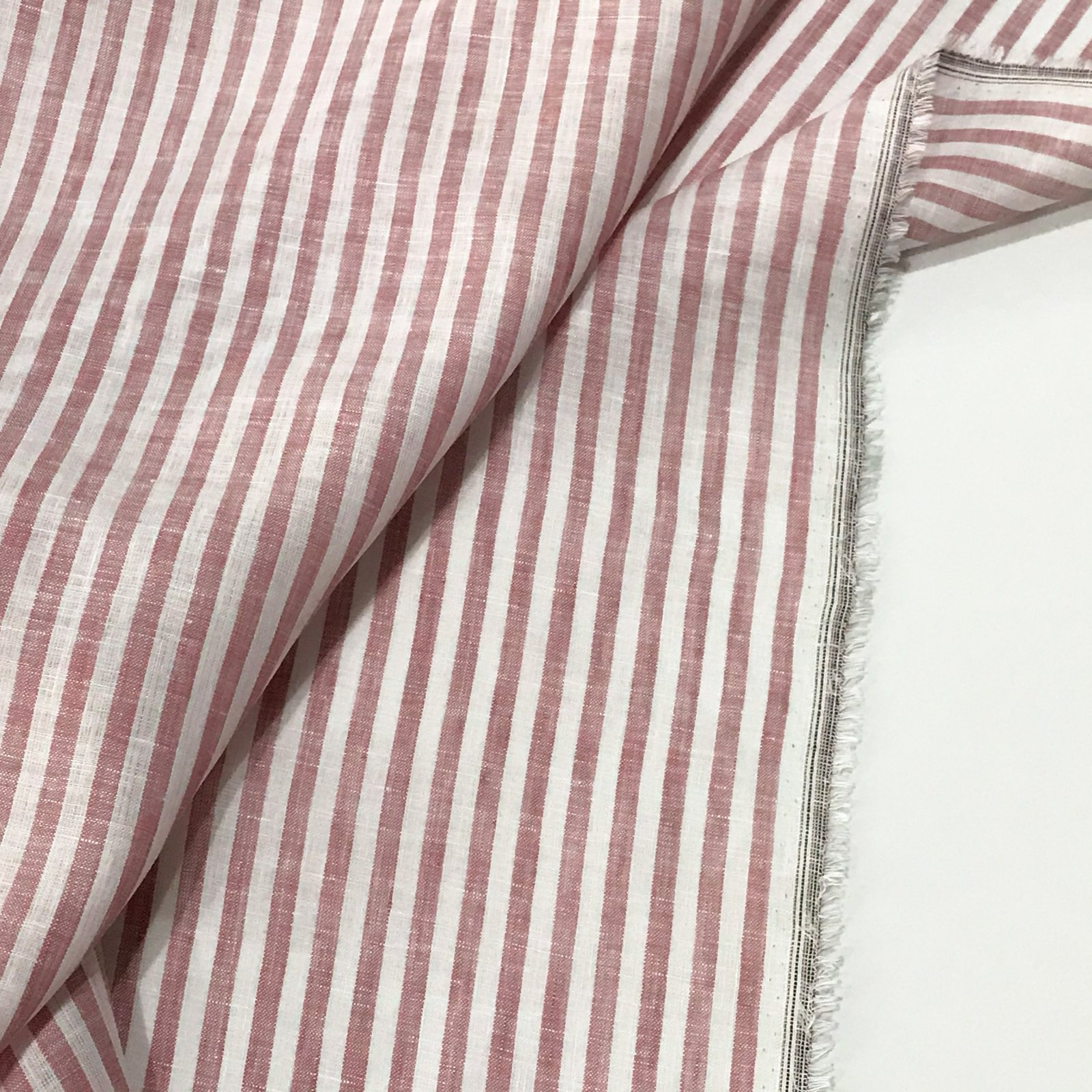 Linen - Cranberry and White Stripes
