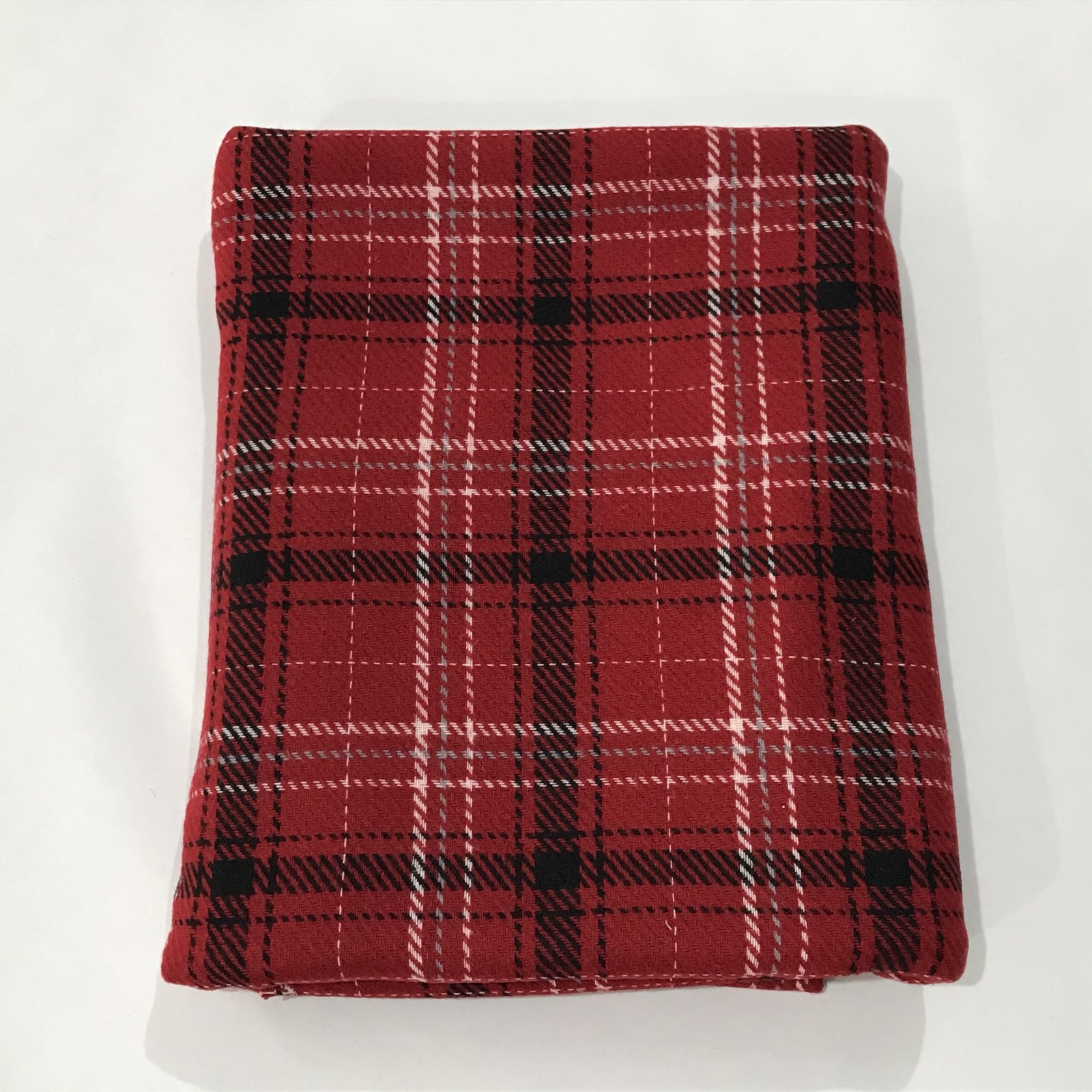 Plaid Wool Blend - Red/White/Black/Gray - 1 yard + 35 inches