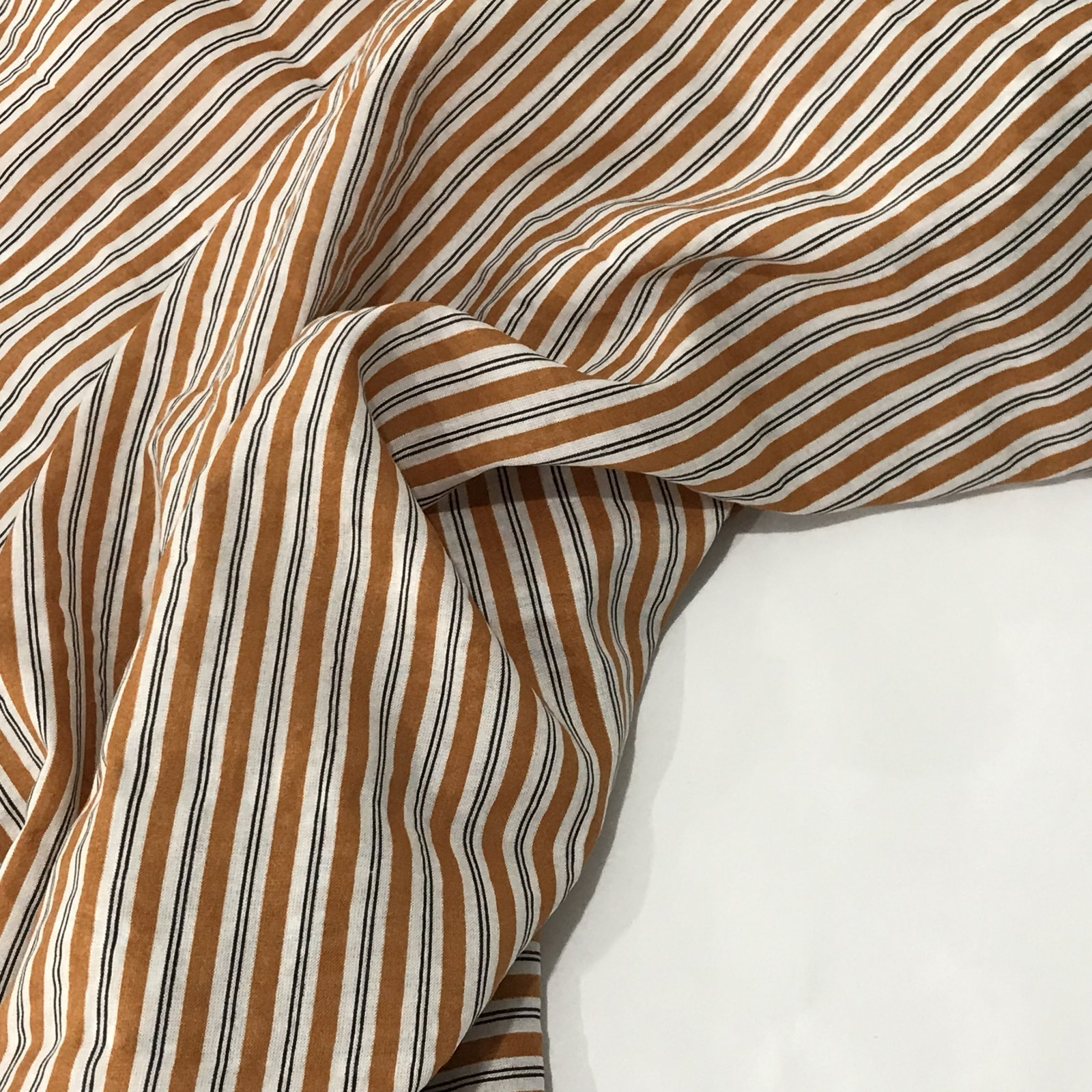 Verona Voile - Cinnamon and Black Stripes