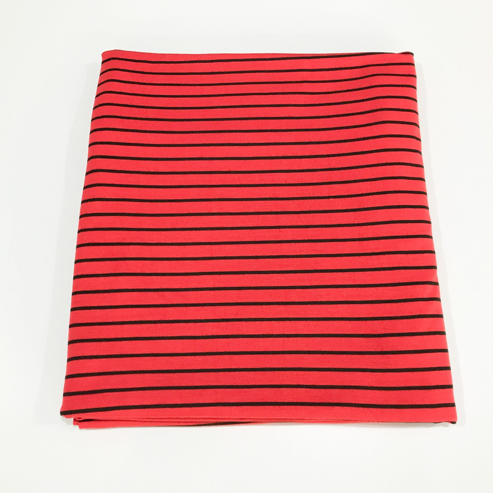 1 1/4 yard - Bamboo Knit Stripe - Red and Black
