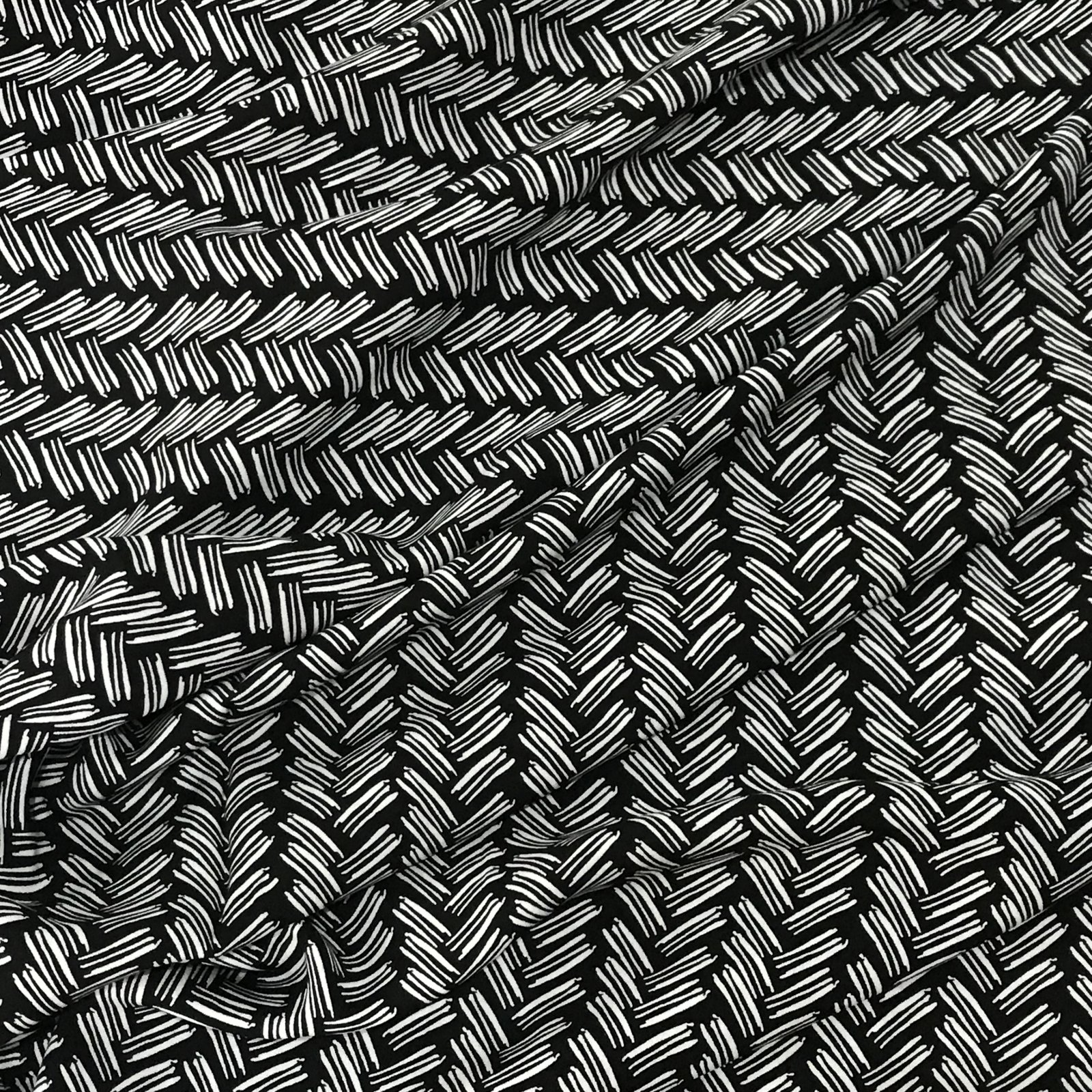 Rayon - Black & Ecru Lines