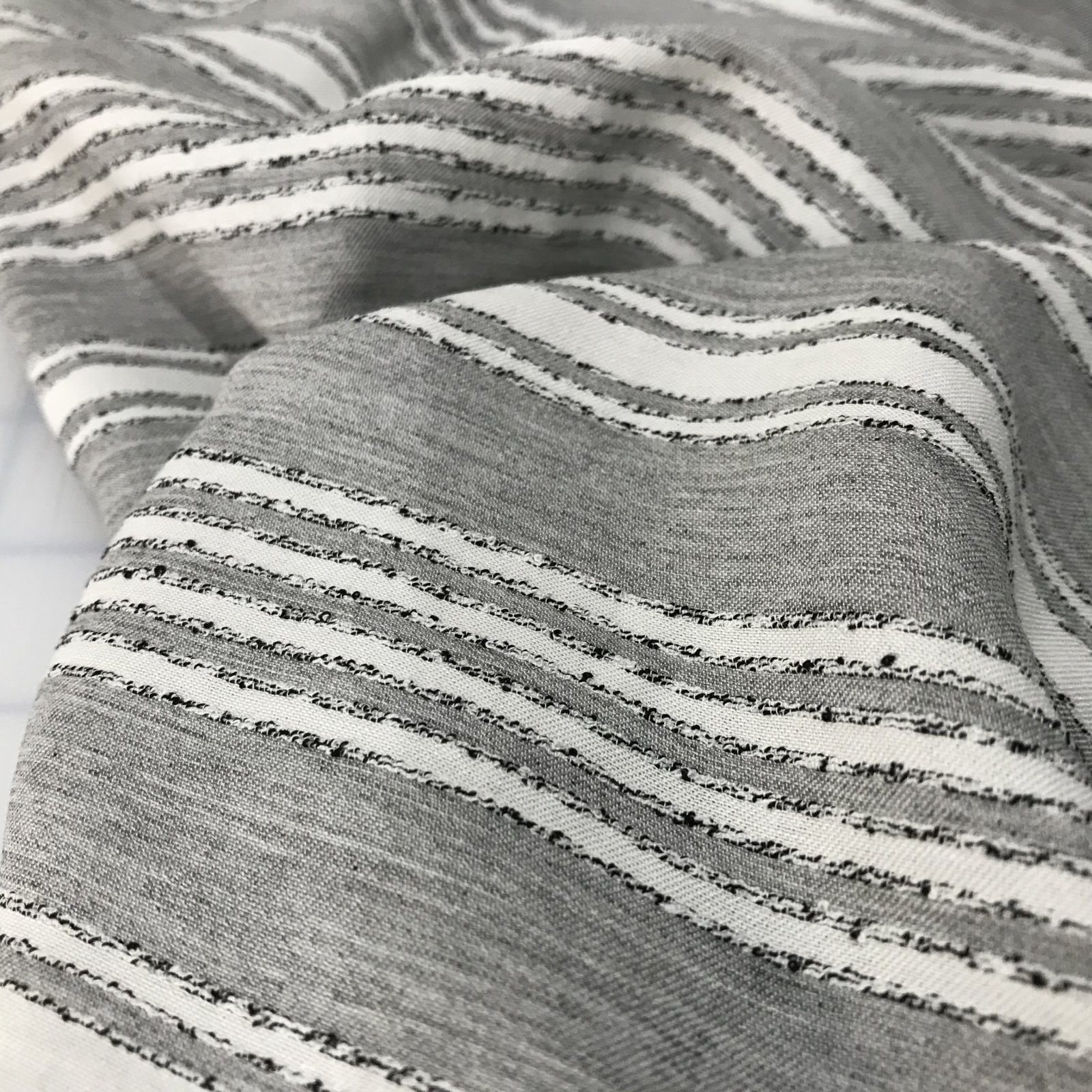 Rayon - Gray & Cream Textured Stripes