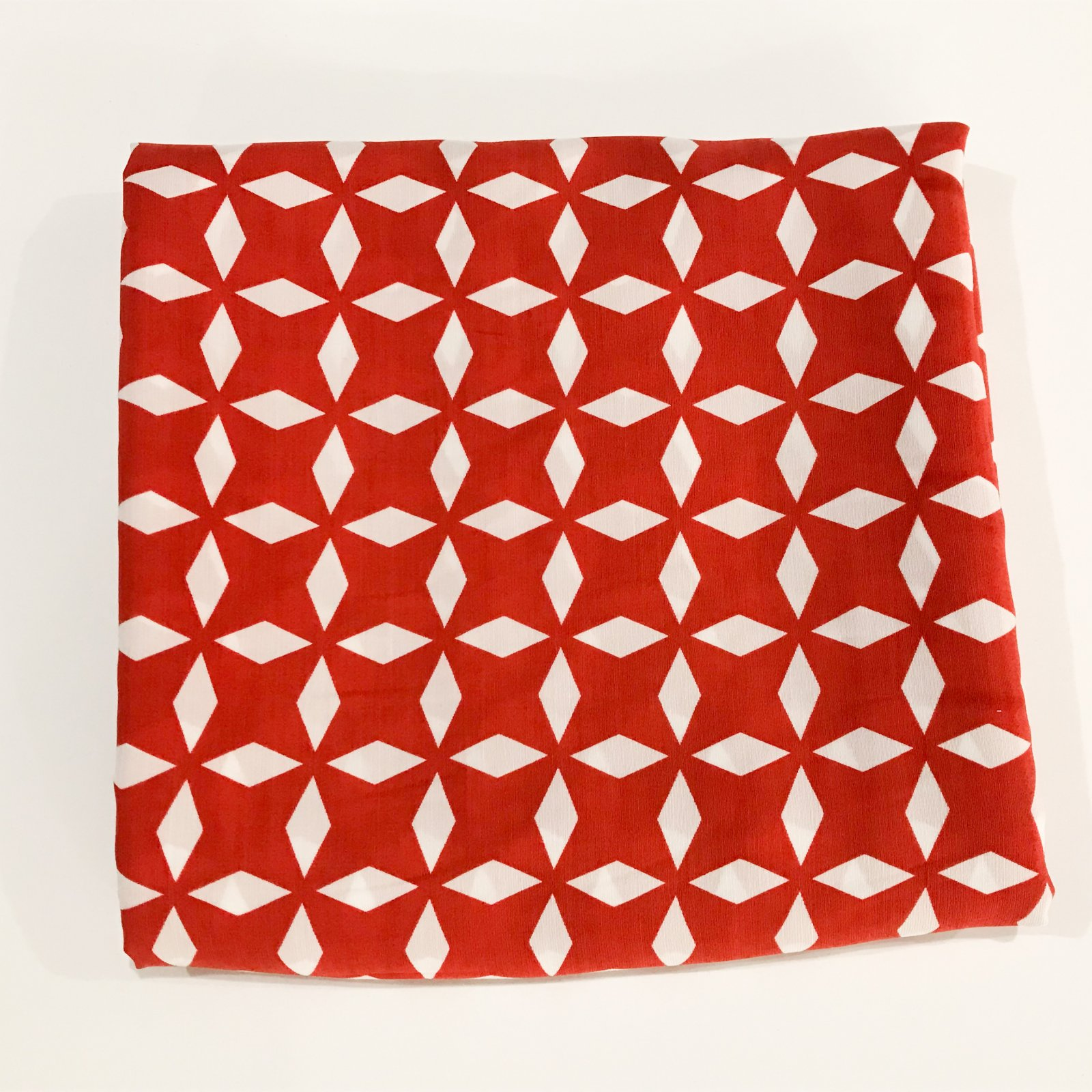 3 1/4 yards - Rayon Red and White Geometric