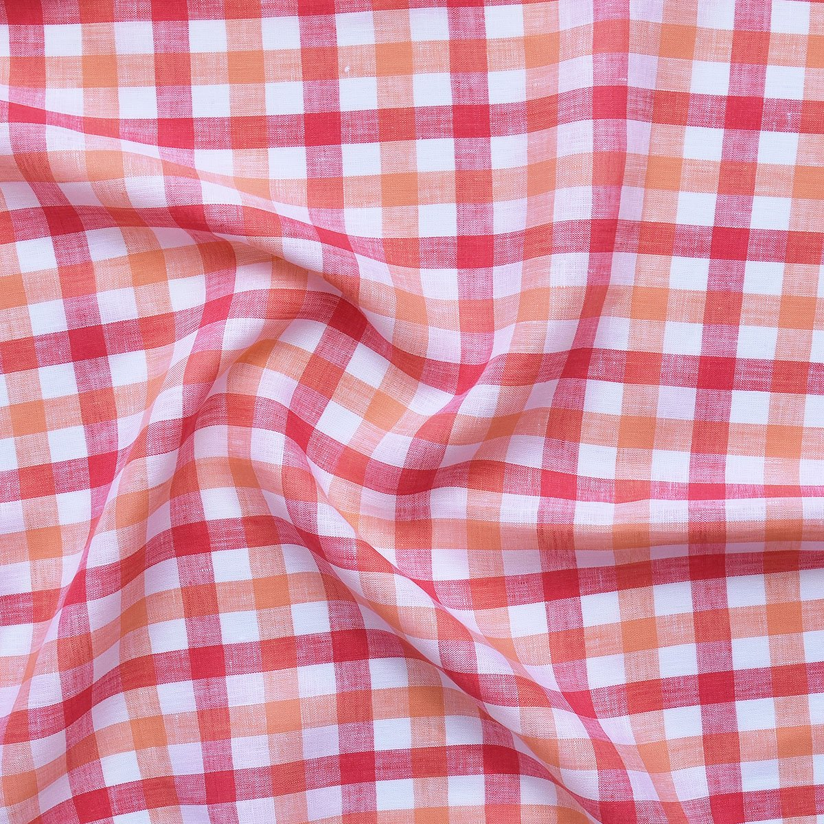 Linen - Coral Gingham