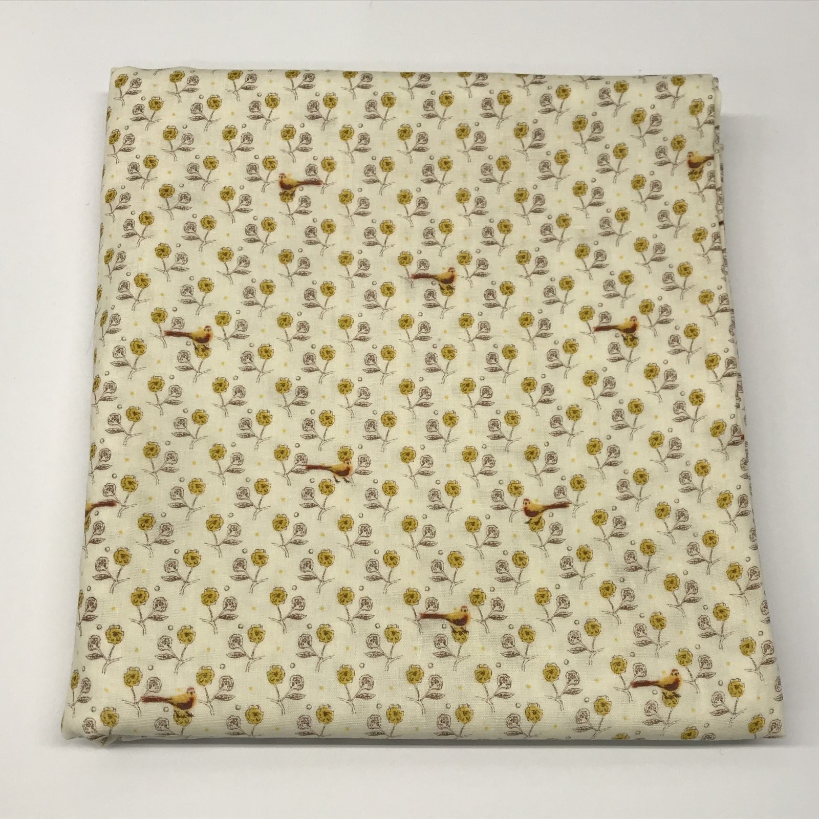 Kokka - Obiko Double Gauze - Yellow with Birds - 2 1/2 yards