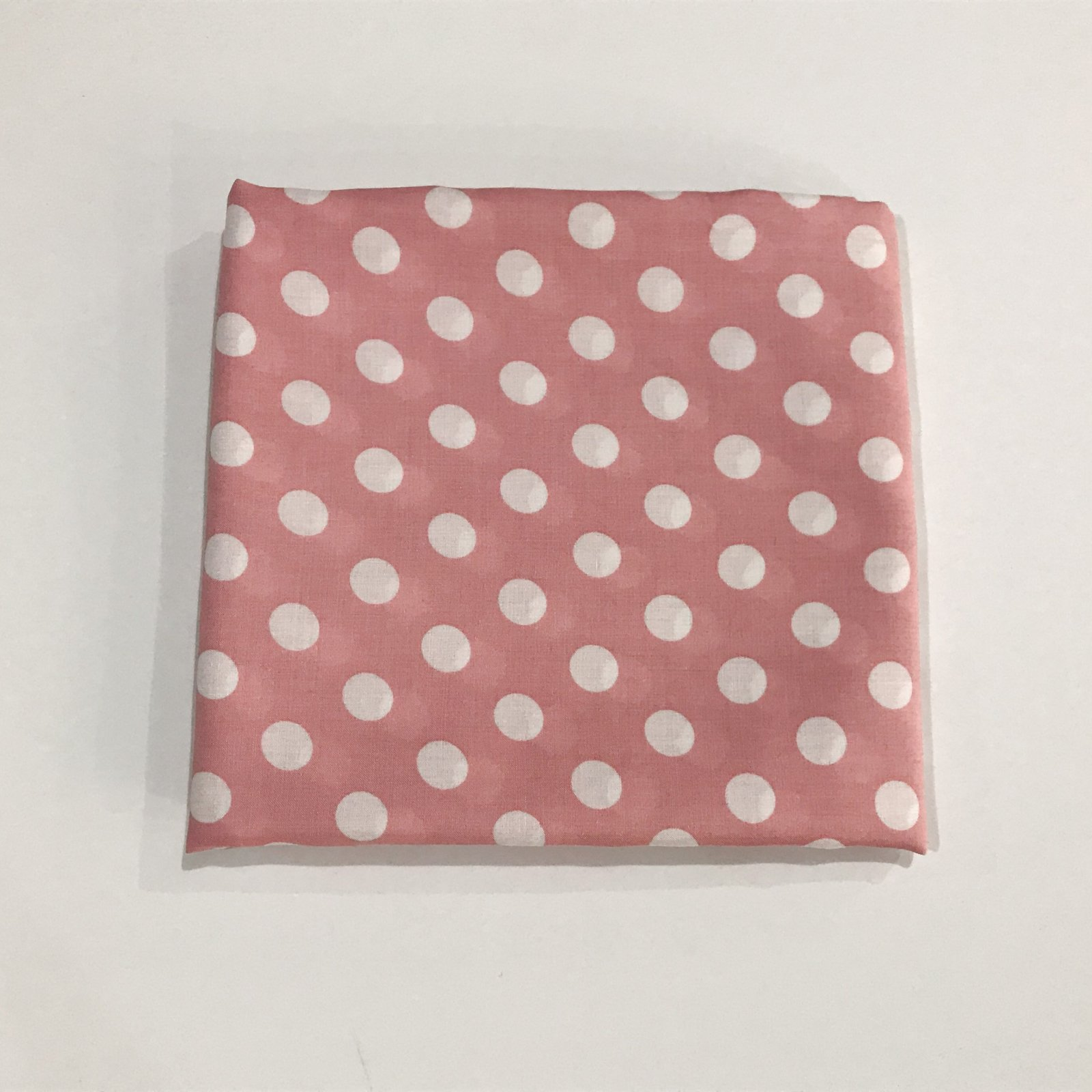 1 3/4 yards - Rayon - White Polka Dots on Pink