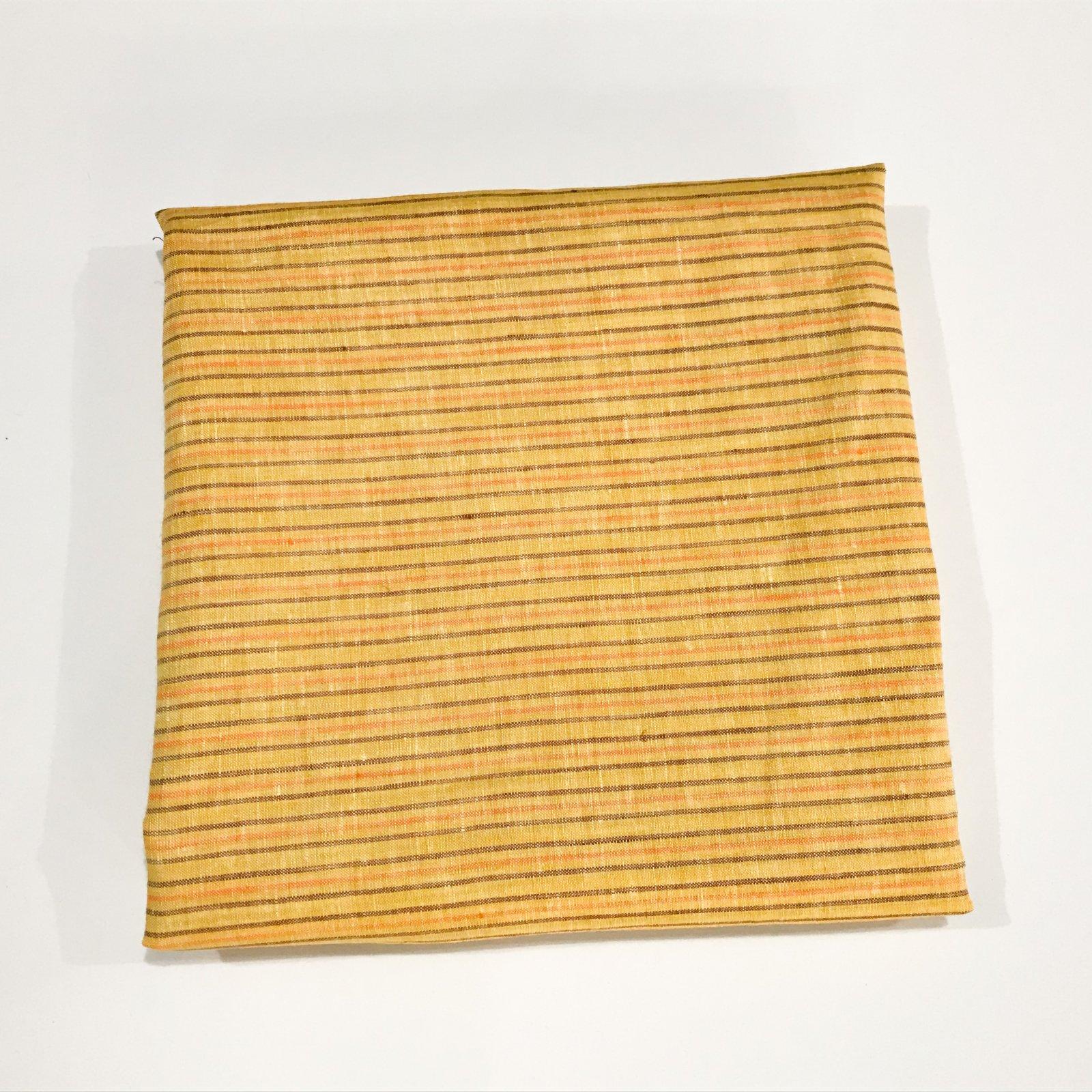 2 yards + 7 inches - Linen - Yellow/Rust/Orange Stripes