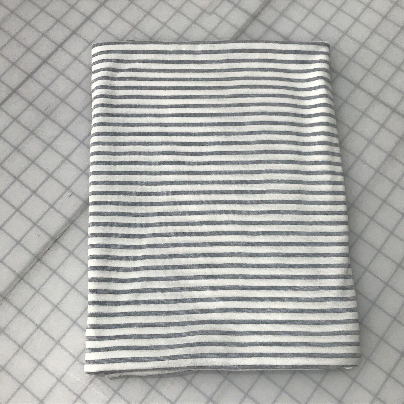 Cotton Knit - Denim & White Stripe - 1 1/2 yards
