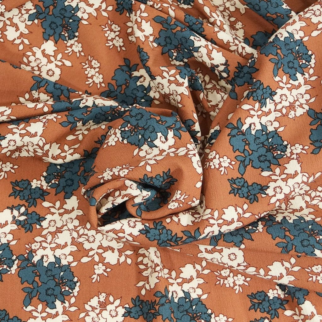 Rayon - Soft Rust and Country Blue Floral Crepe