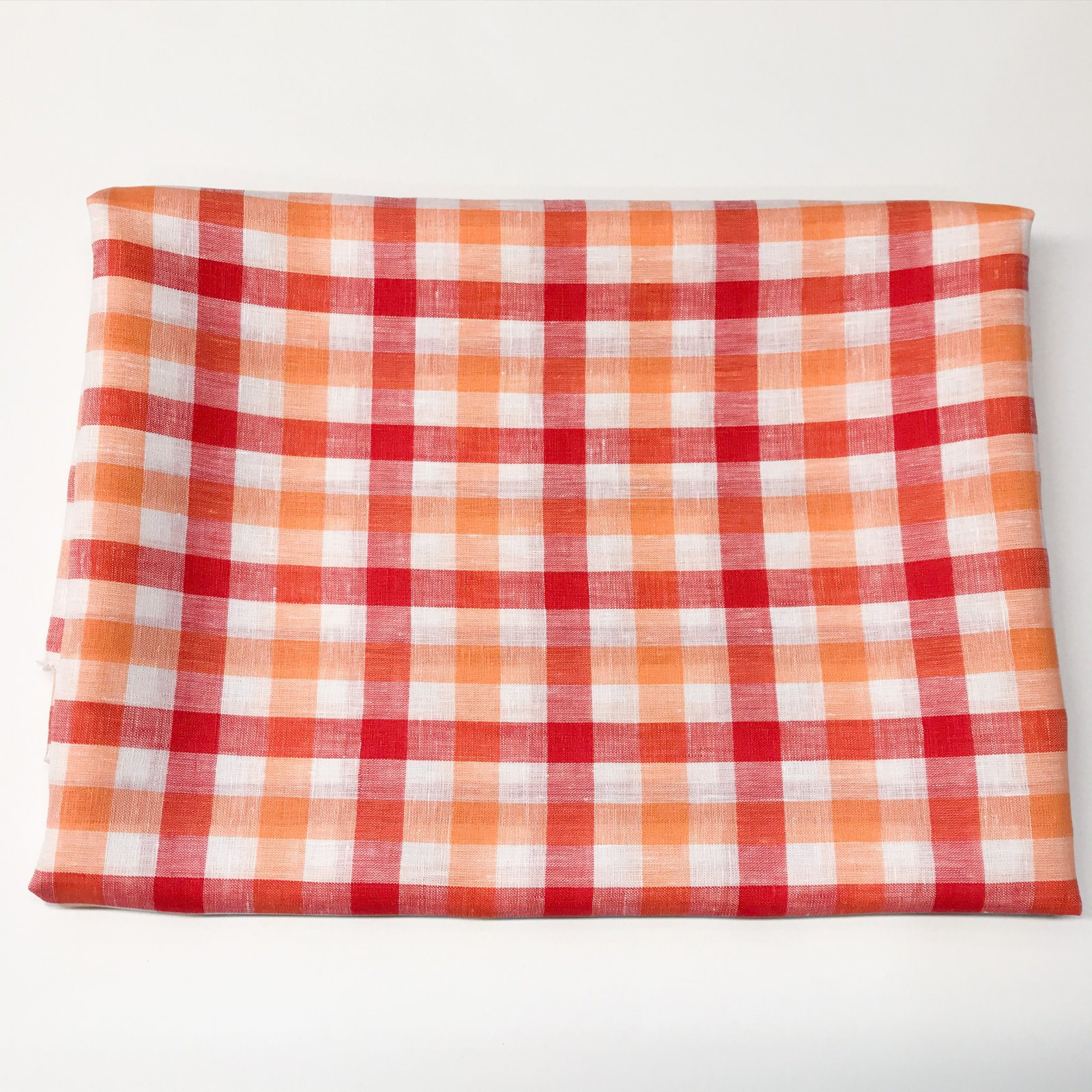 Linen - Coral Gingham 1 1/2 yard