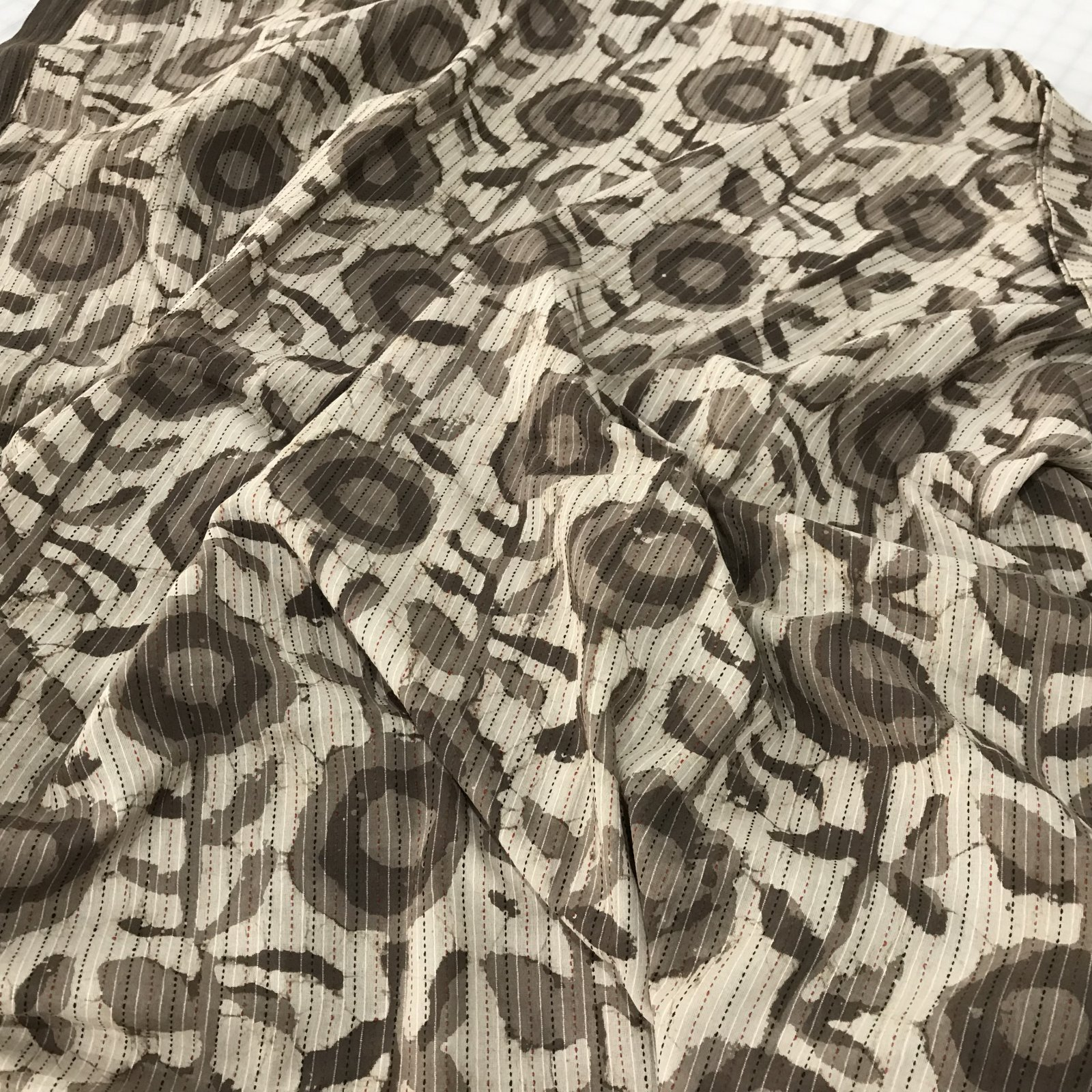 Four Featured Fabrics: Kantha - Brown floral with rust and black stitches