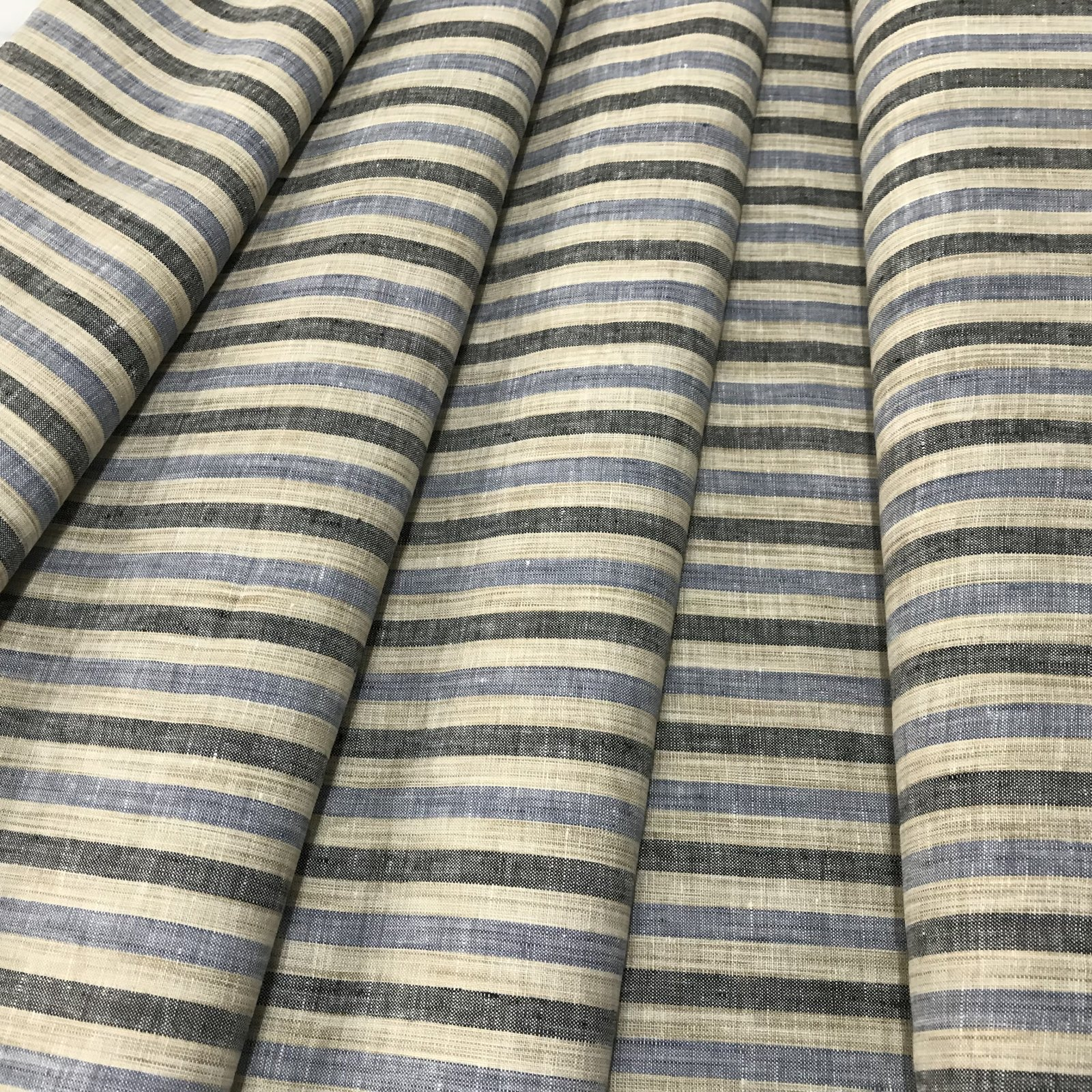 Linen - Tan and Blue Stripes