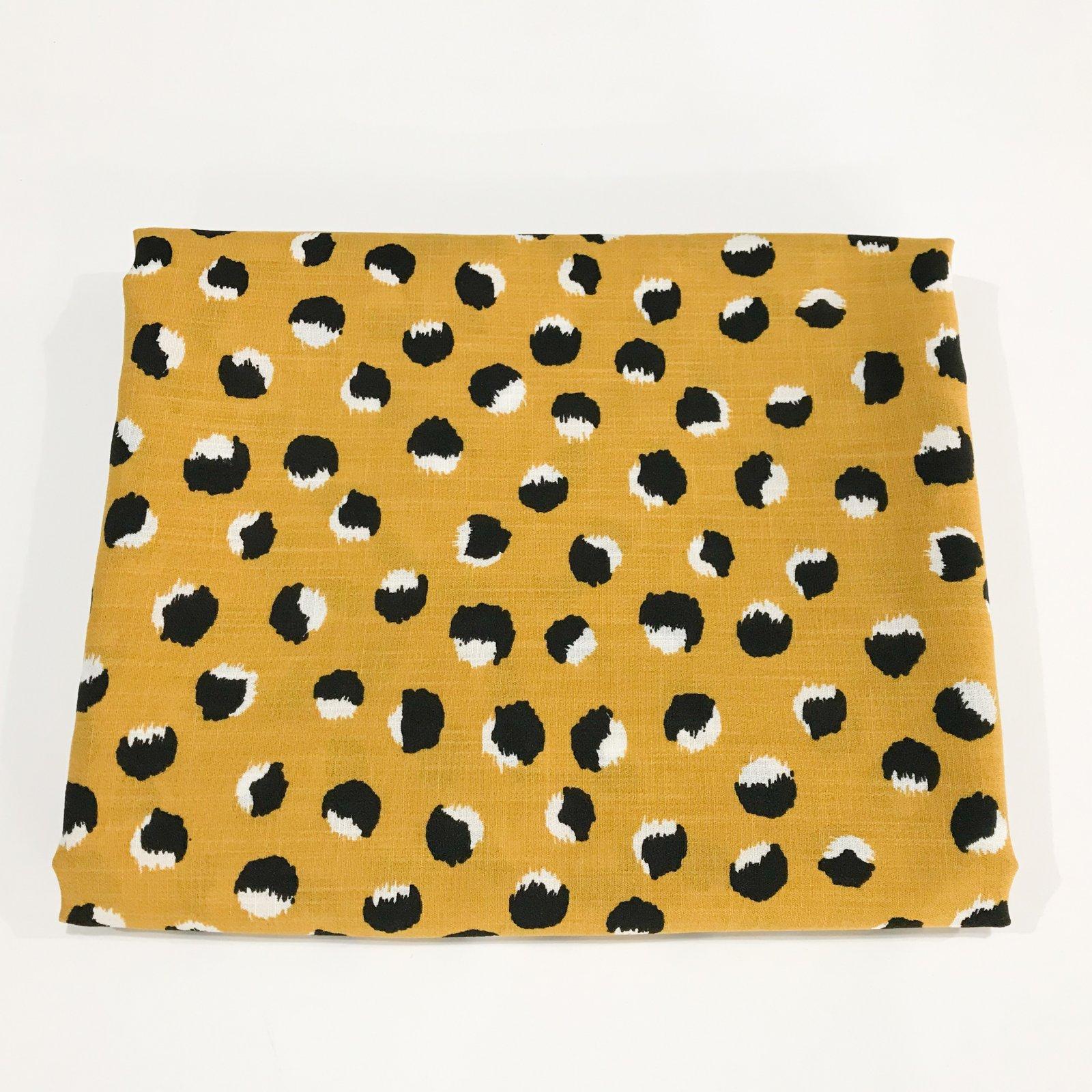 """2 yards + 19 inches - Rayon """"Mojito Slub"""" Abstract Dollop Print in Mustard"""