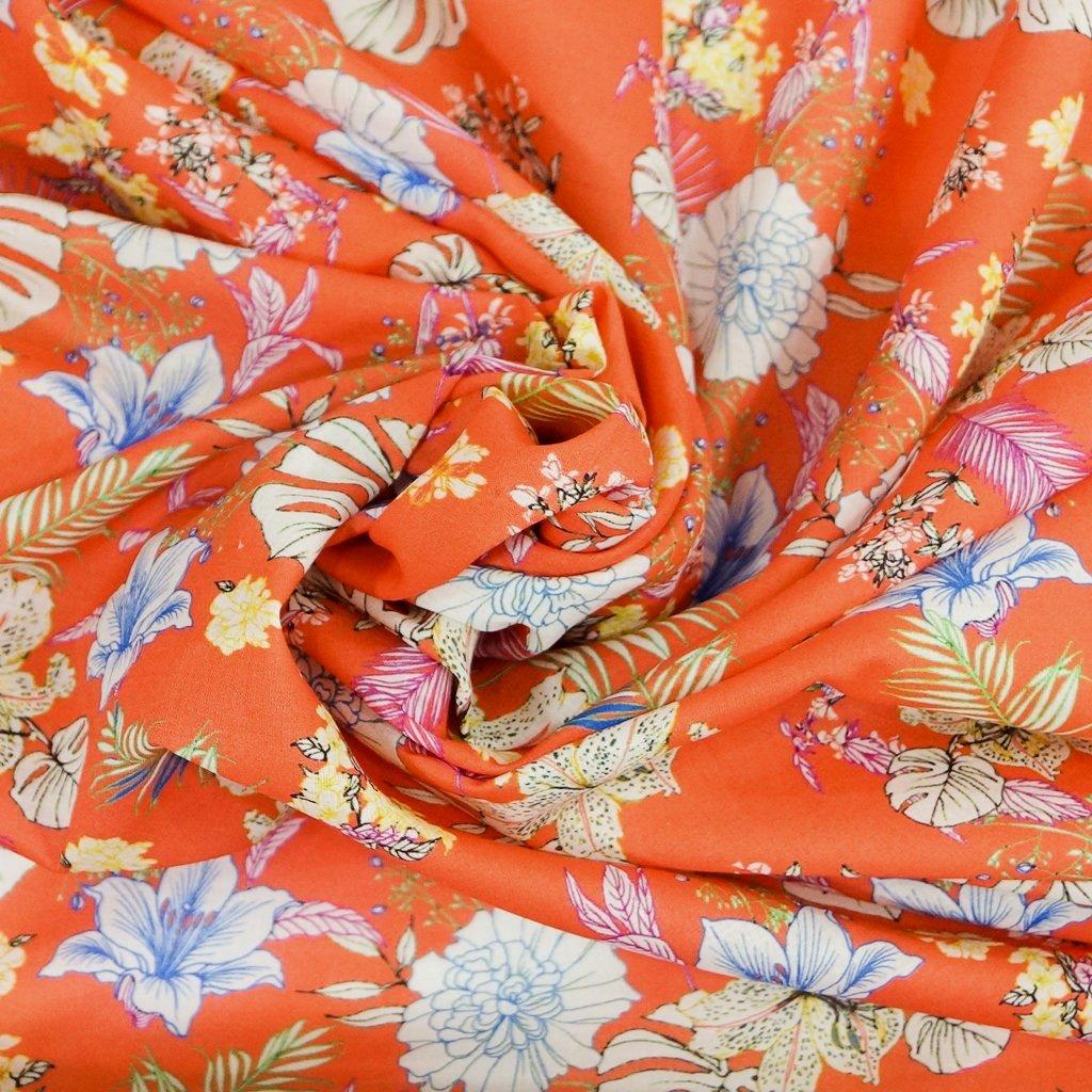 Cotton Lawn - Italian Creamy Tangerine Floral