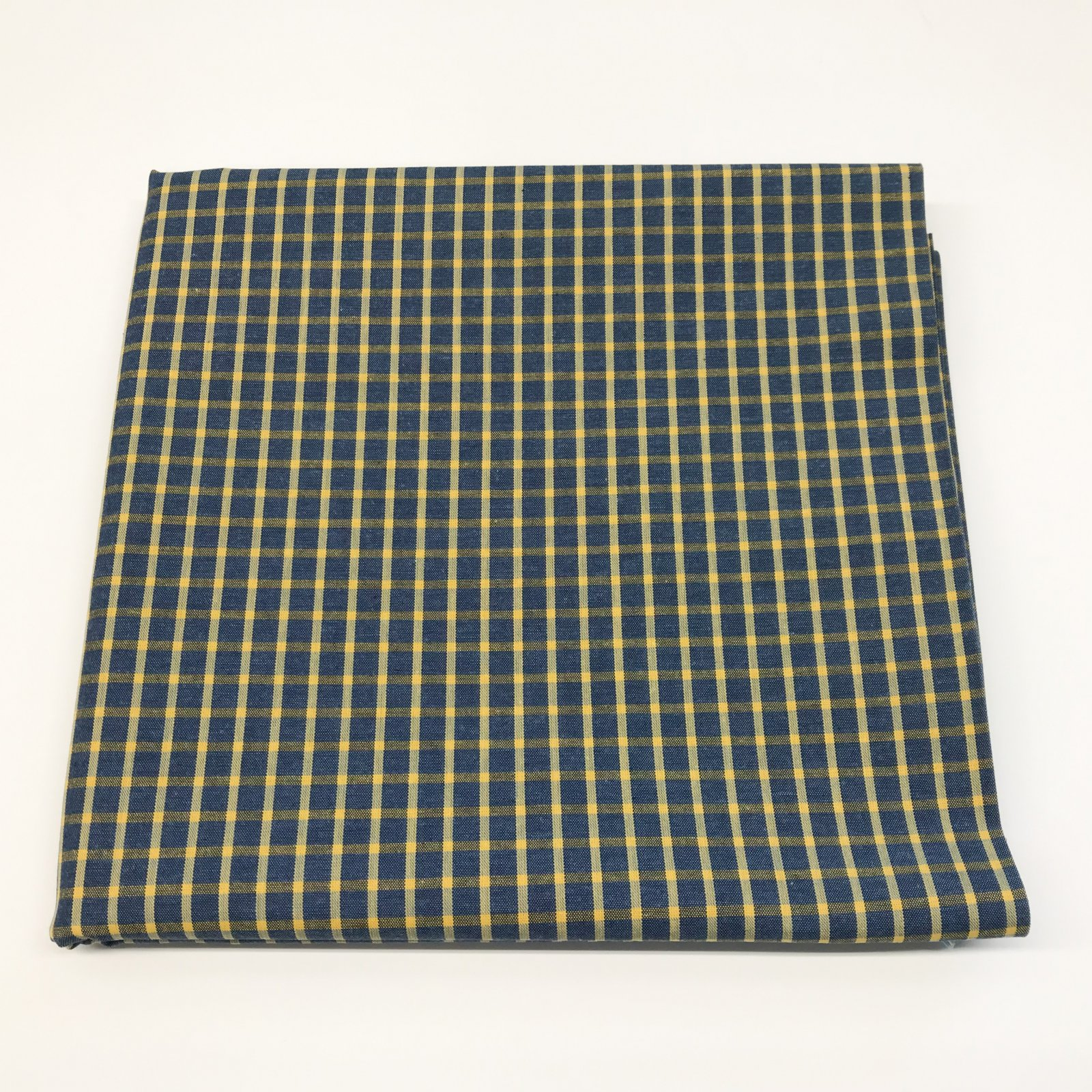 2 1/3 yards - Yarn Dyed Cotton - Blue & Yellow Windowpane Shirting
