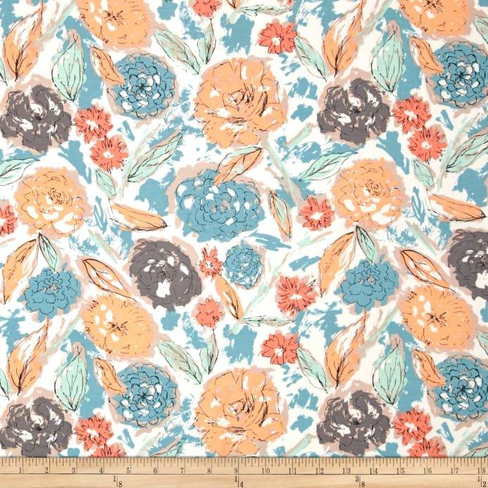 Cotton Jersey - Paper Flowers Parchment
