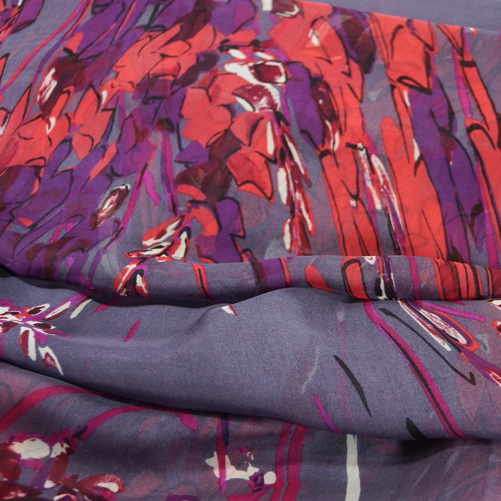 Silk - Abstract Art in Coral, Wine, & Magenta on Lavender Italian Silk Georgette