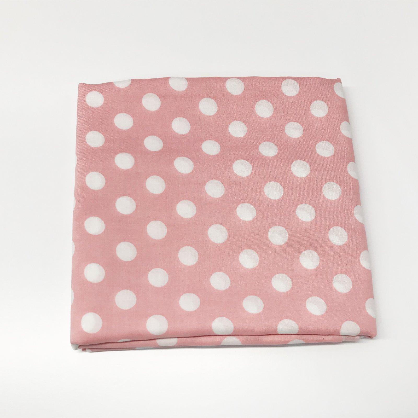 1 7/8 yards - Rayon - White Polka Dots on Pink